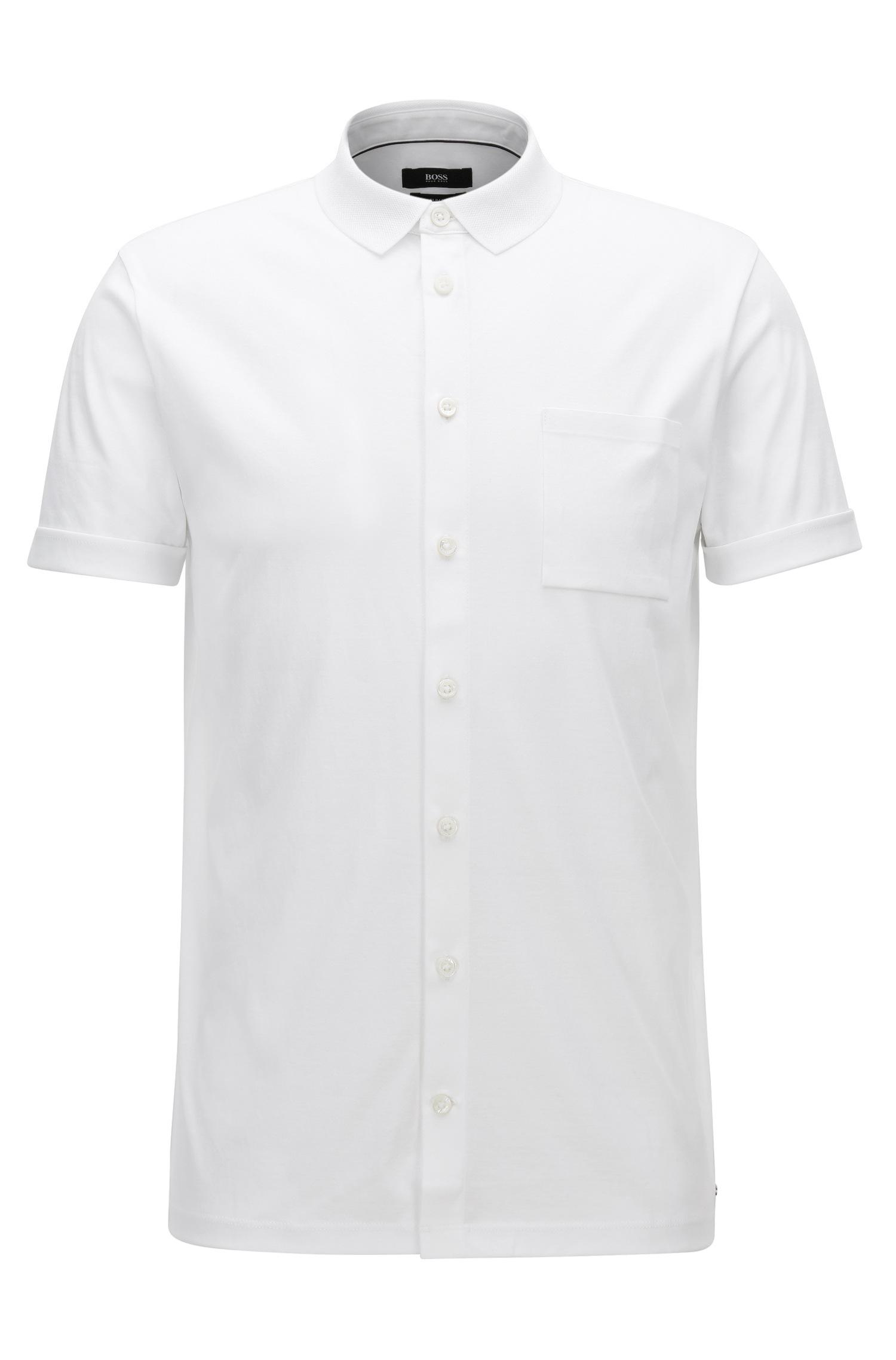Lyst boss slim fit button up polo shirt in interlock for White fitted polo shirts