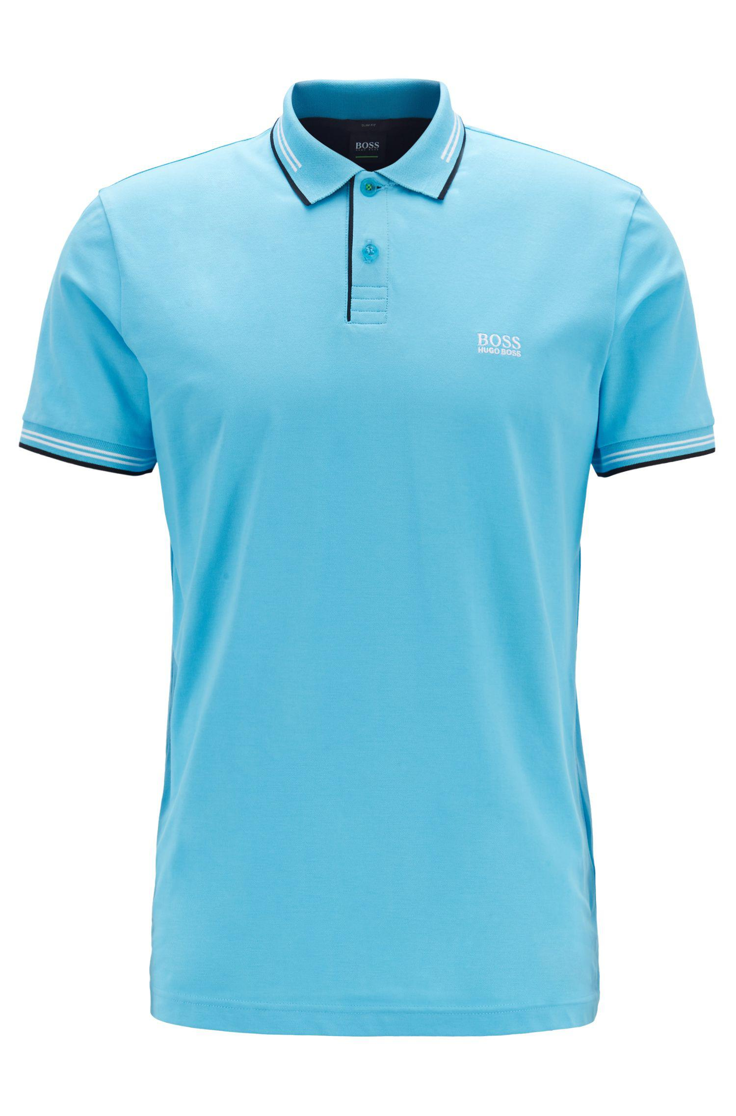 8b2f86c3a5300 BOSS - Blue Slim-fit Stretch-cotton Polo Shirt With Contrast Tipping for  Men. View fullscreen