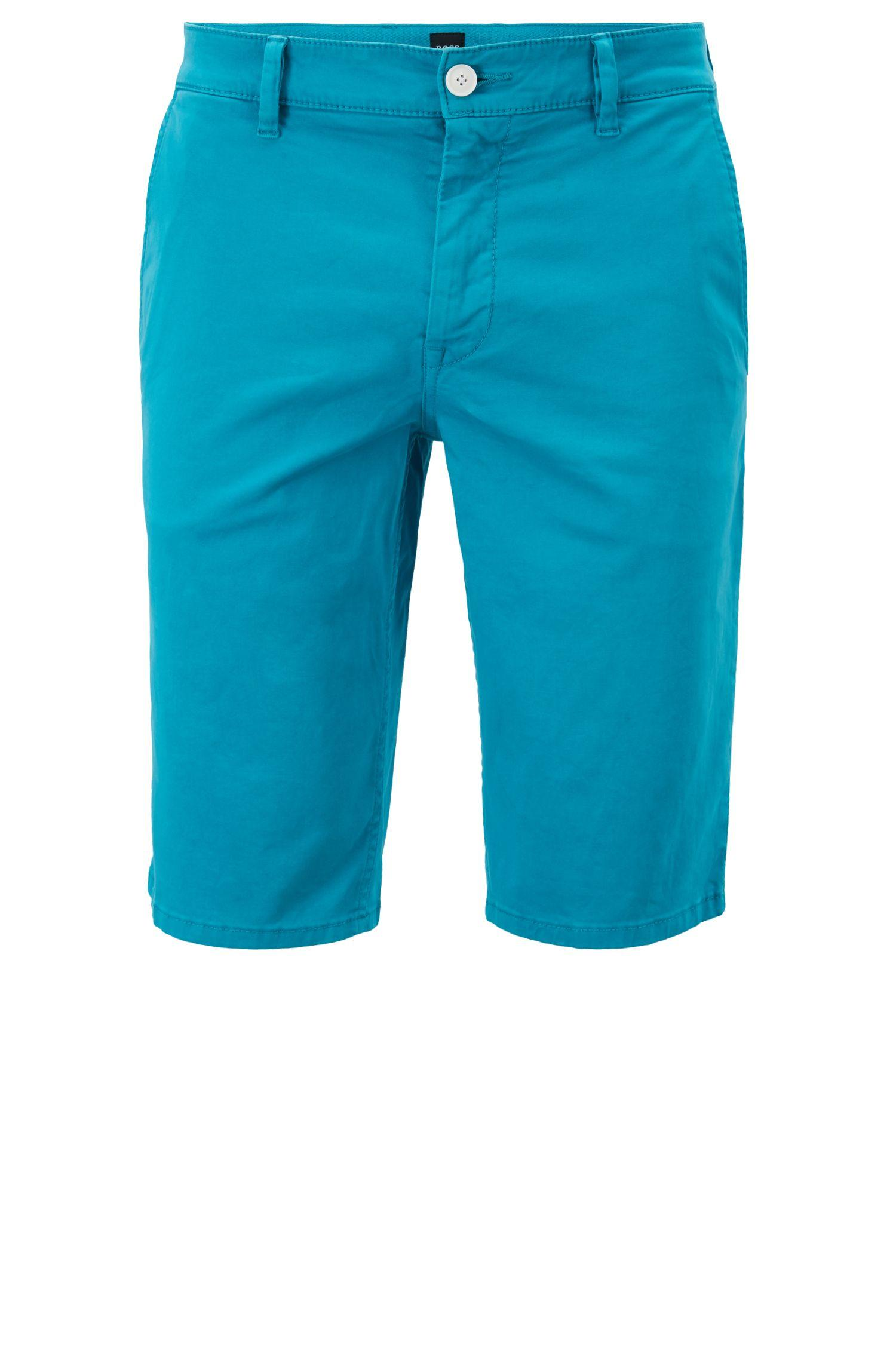 44f534331 BOSS Slim-fit Chino Shorts In Double-dyed Stretch Satin in Blue for ...