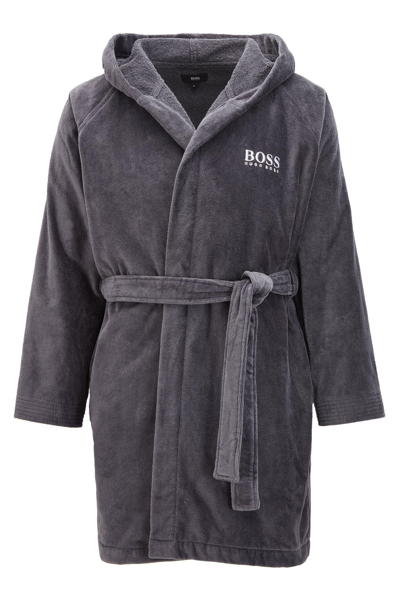 13b4de2cbbca BOSS Short Hooded Dressing Gown In Egyptian Cotton in Gray for Men ...