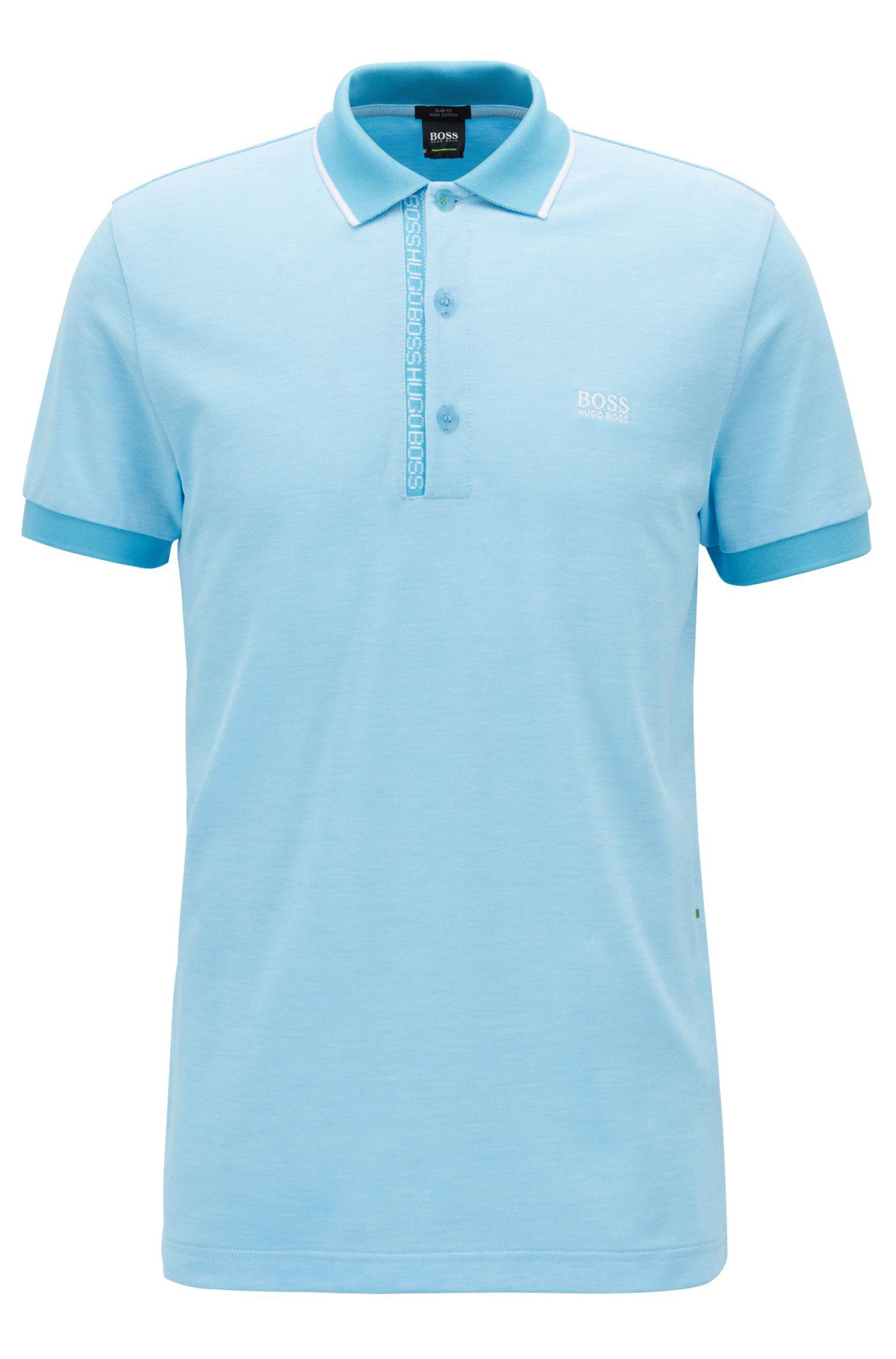 84775c303 BOSS Slim-fit Polo Shirt In Pima-cotton Oxford Piqué in Blue for Men ...