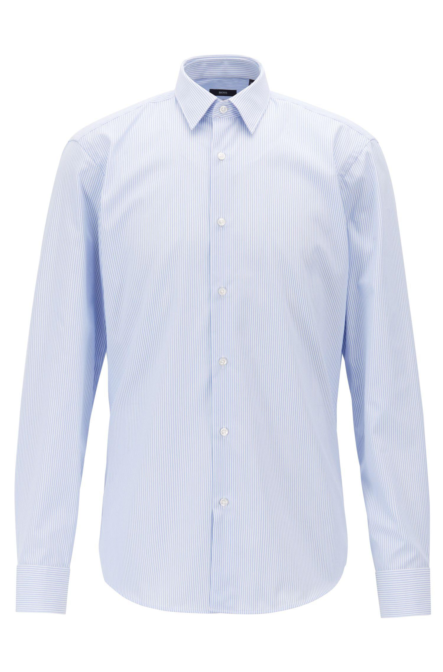 Easy Iron 25 Mg: BOSS Regular-fit Easy-iron Shirt In Striped Cotton Poplin