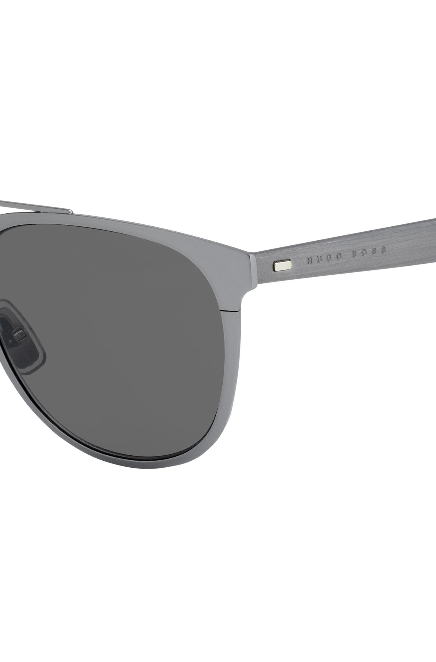5ae9db21ac BOSS - Metallic Dark Grey Metal Sunglasses With Cork Trim for Men - Lyst.  View fullscreen