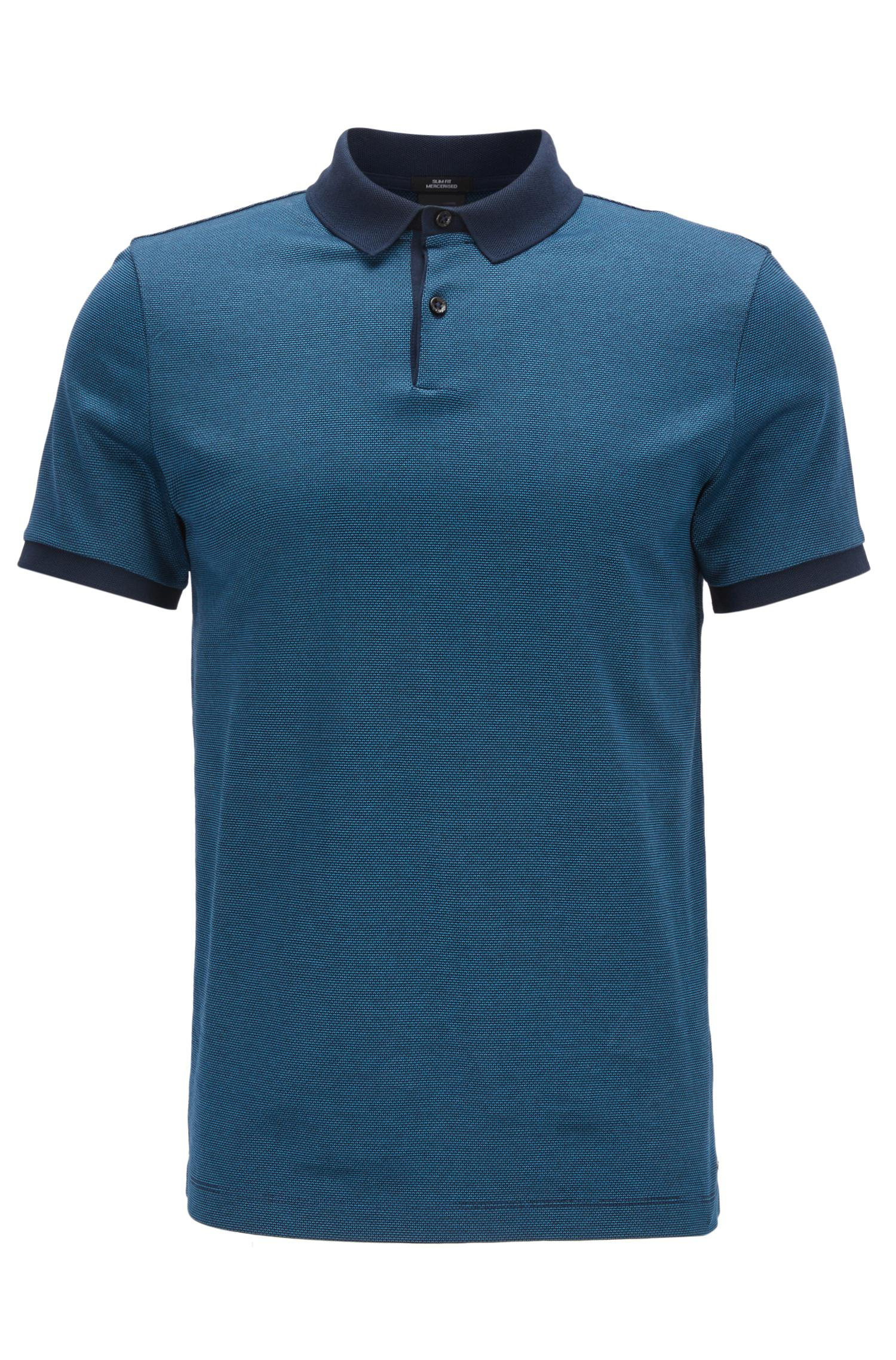 Boss Slim Fit Polo Shirt In Mercerised Cotton Jacquard In