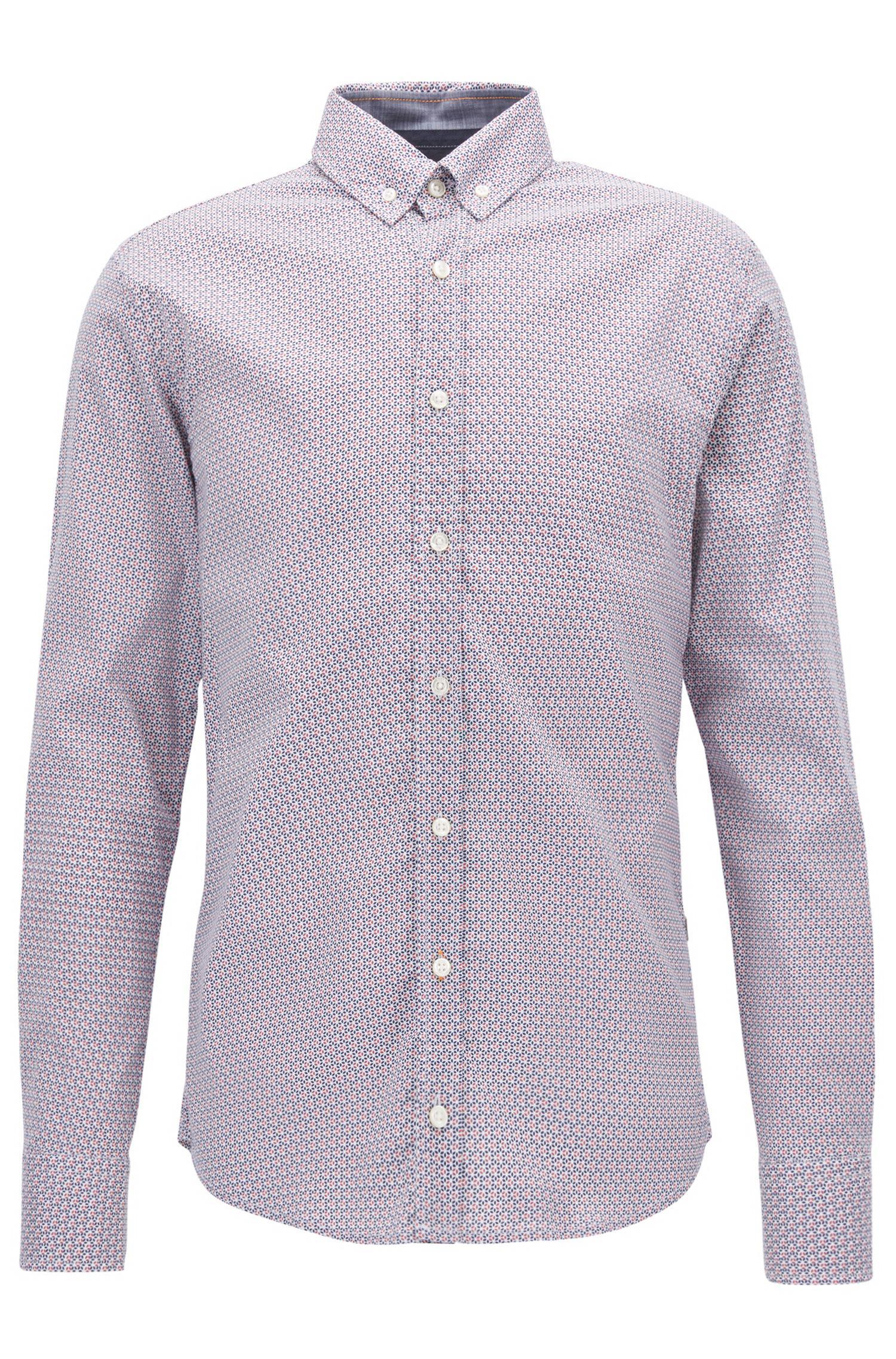 7274ac4a5 BOSS Slim-fit Micro-print Shirt In Cotton Poplin in Blue for Men - Lyst