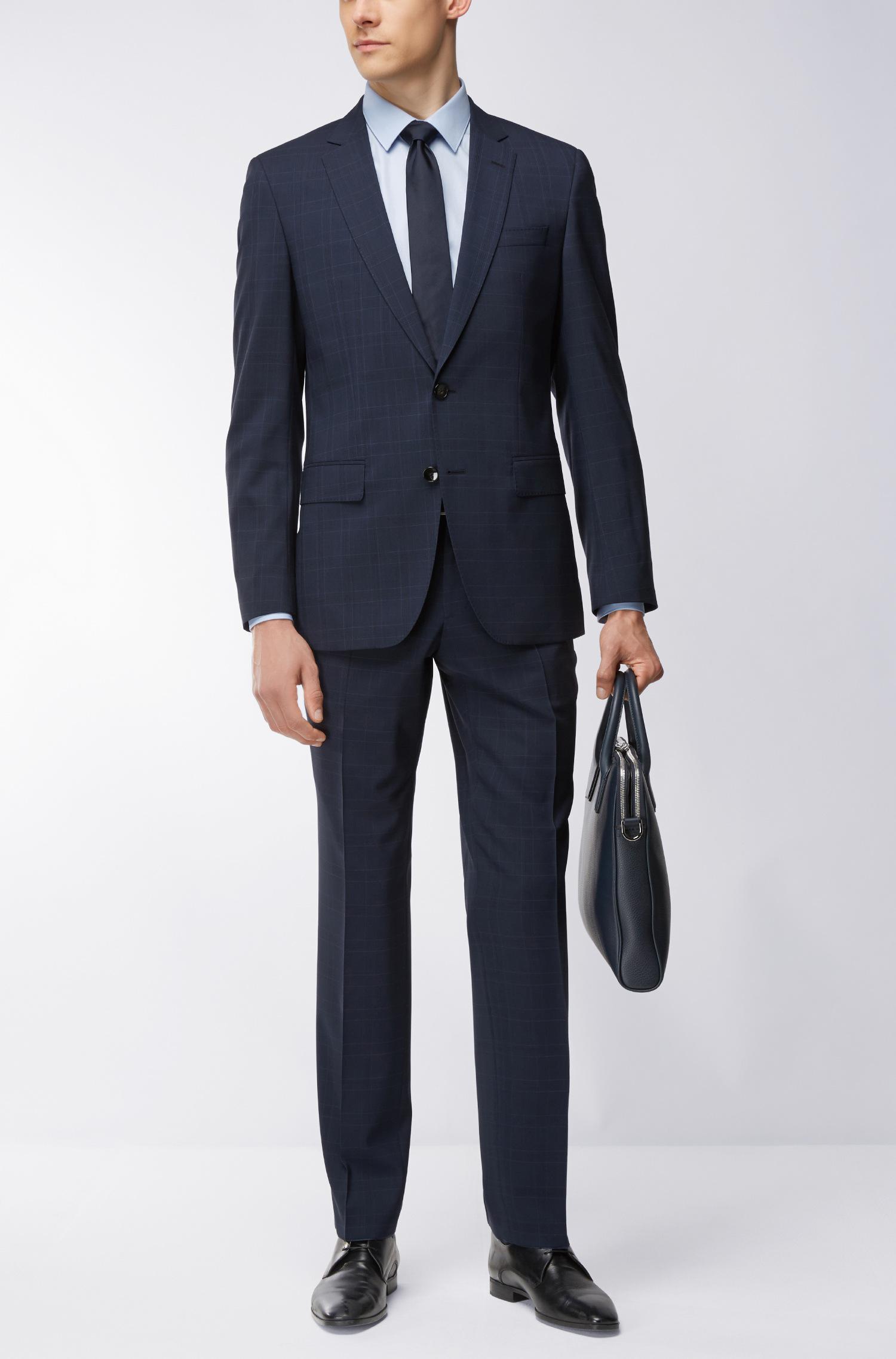0c0944b4 BOSS - Blue Stretch Tailoring Virgin Wool Suit, Slim Fit | Huge/genius for.  View fullscreen