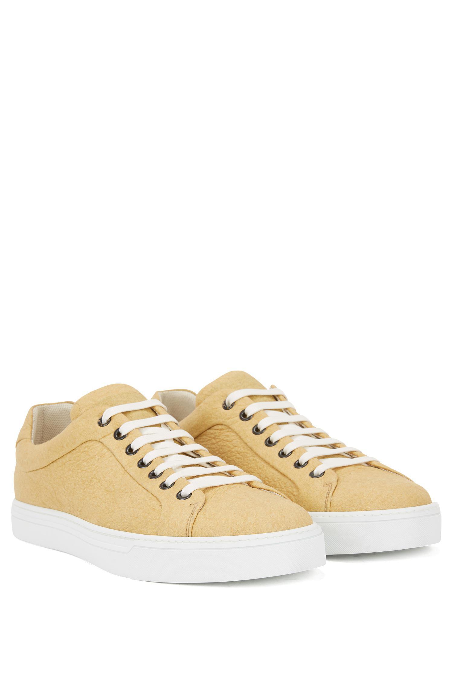 e546a3e7fb9 BOSS - Yellow Limited-edition 100% Vegan Sneakers In Piñatex® for Men -.  View fullscreen