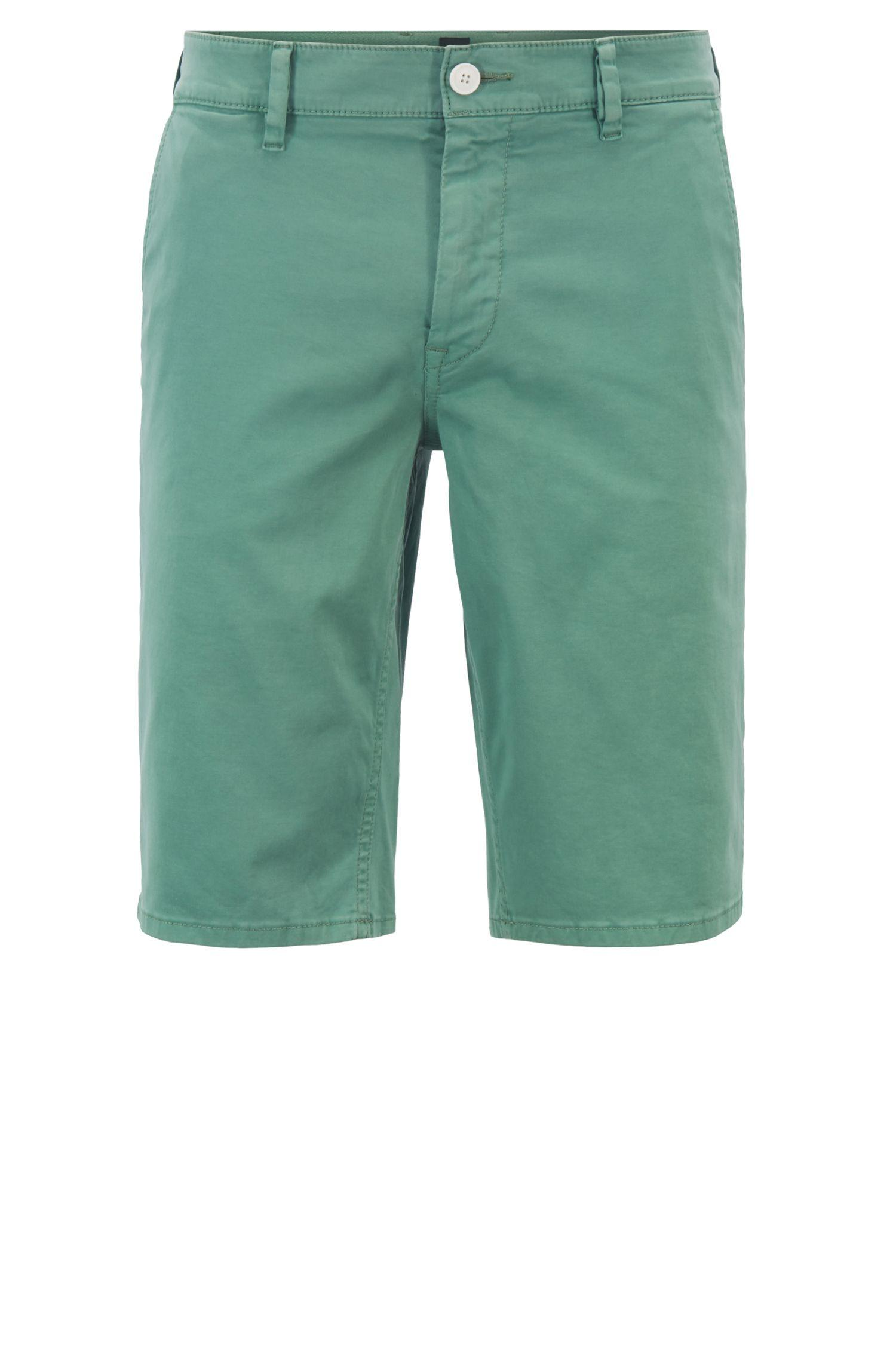 b012315ba BOSS Slim-fit Chino Shorts In Double-dyed Stretch Satin in Green for ...