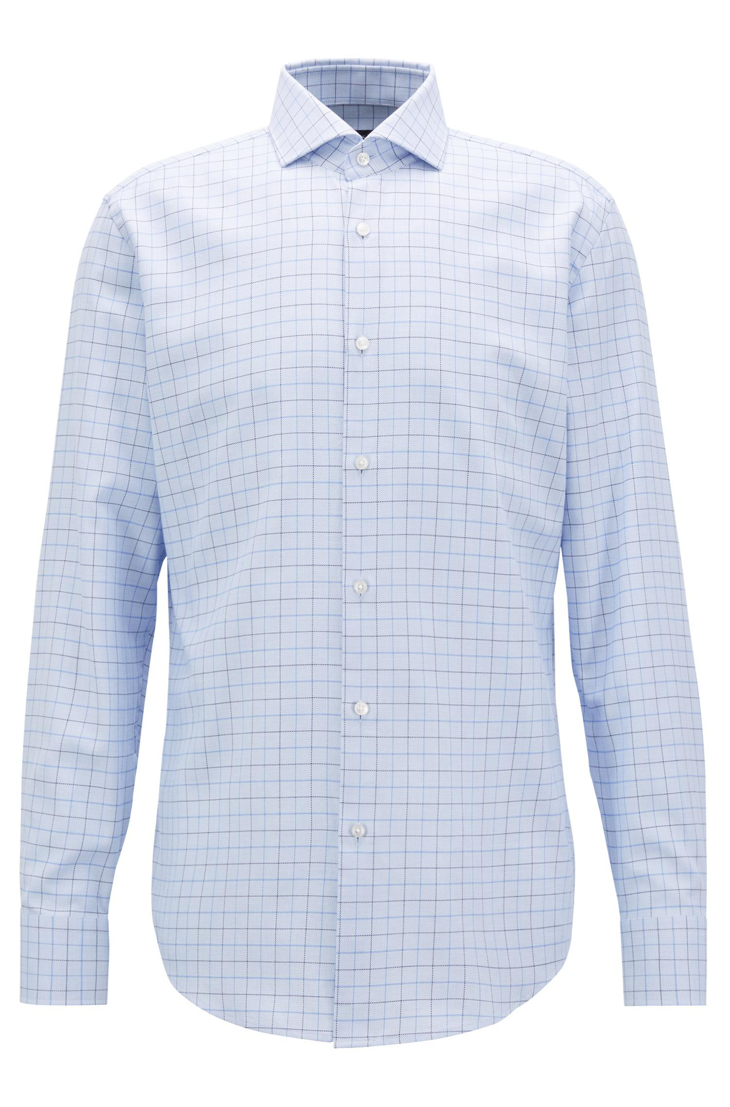 8ebbea10 BOSS Slim-fit Shirt In Plain-check Cotton Twill in Blue for Men - Lyst