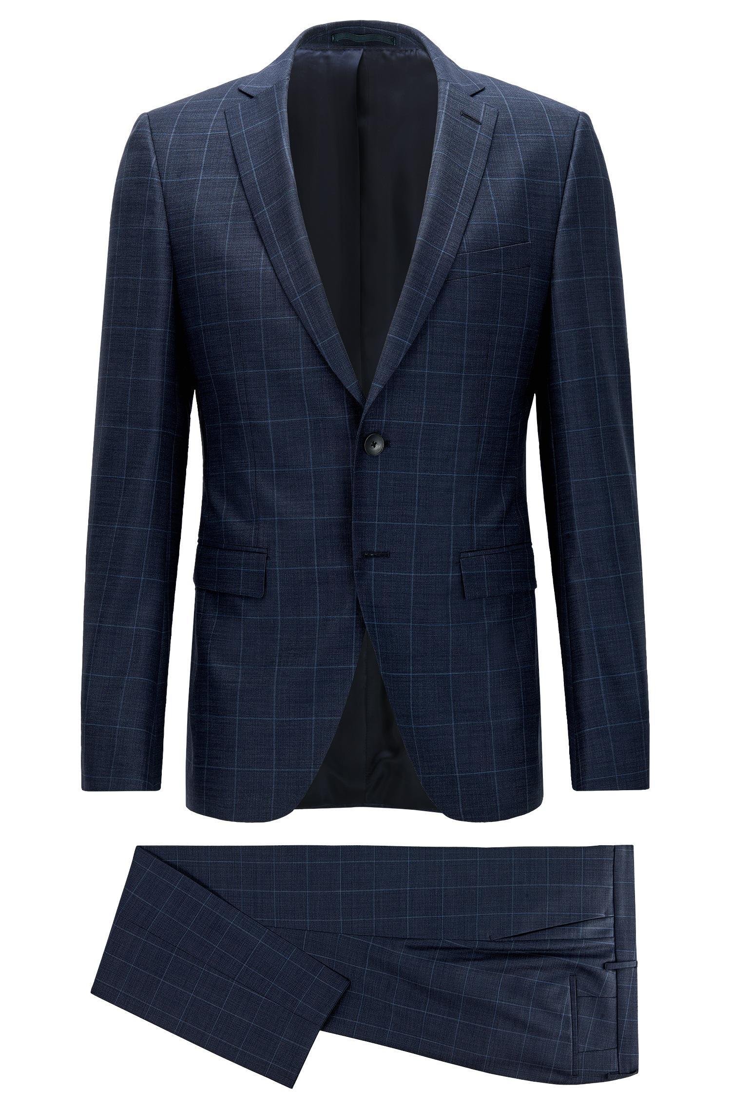 boss extra slim fit suit in virgin wool in blue for men lyst. Black Bedroom Furniture Sets. Home Design Ideas