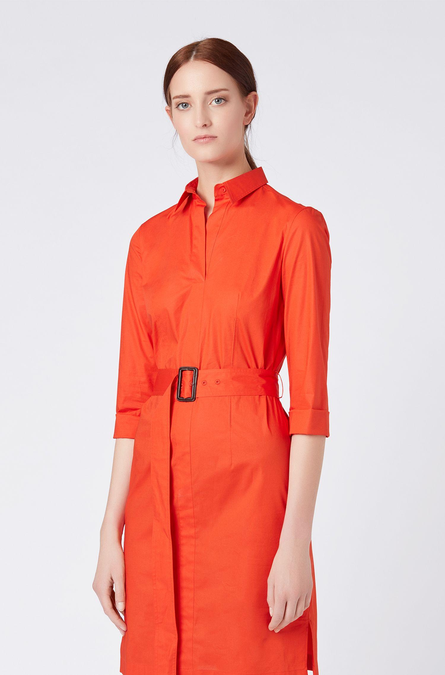 7b8fe7e02 ... Belted Shirt Dress In Stretch Cotton With Point Collar - Lyst · Visit HUGO  BOSS. Tap to visit site