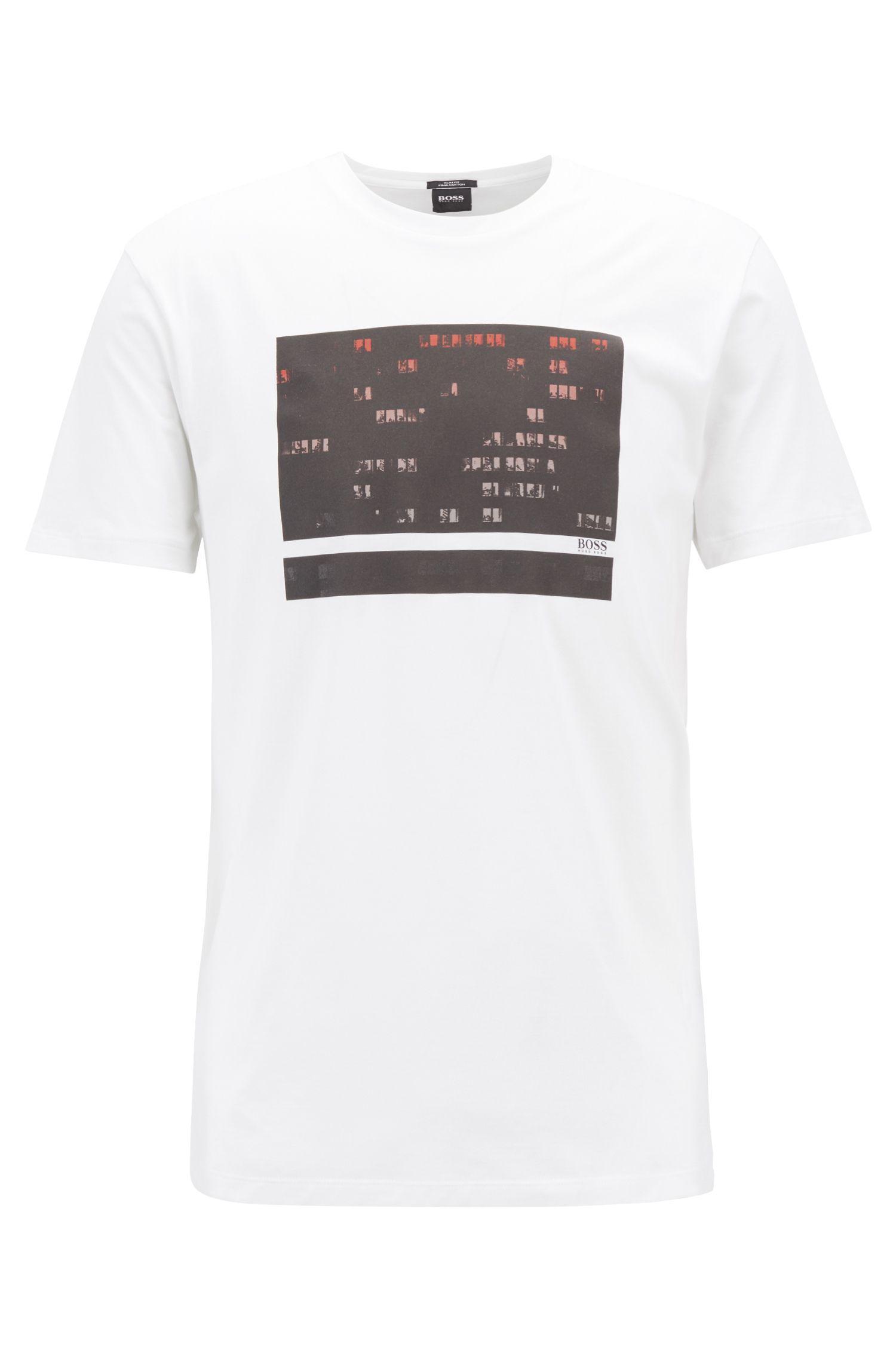 603539bdb BOSS - White Slim-fit Pima Cotton T-shirt With Photographic Print for Men.  View fullscreen