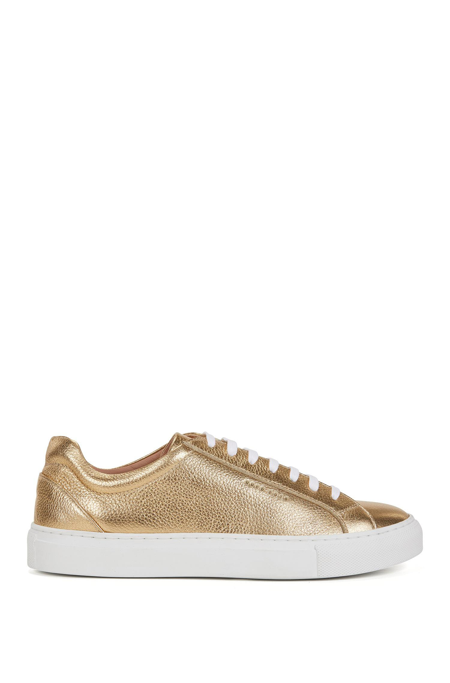 Low-top trainers in laminated leather BOSS rdPekp7WX