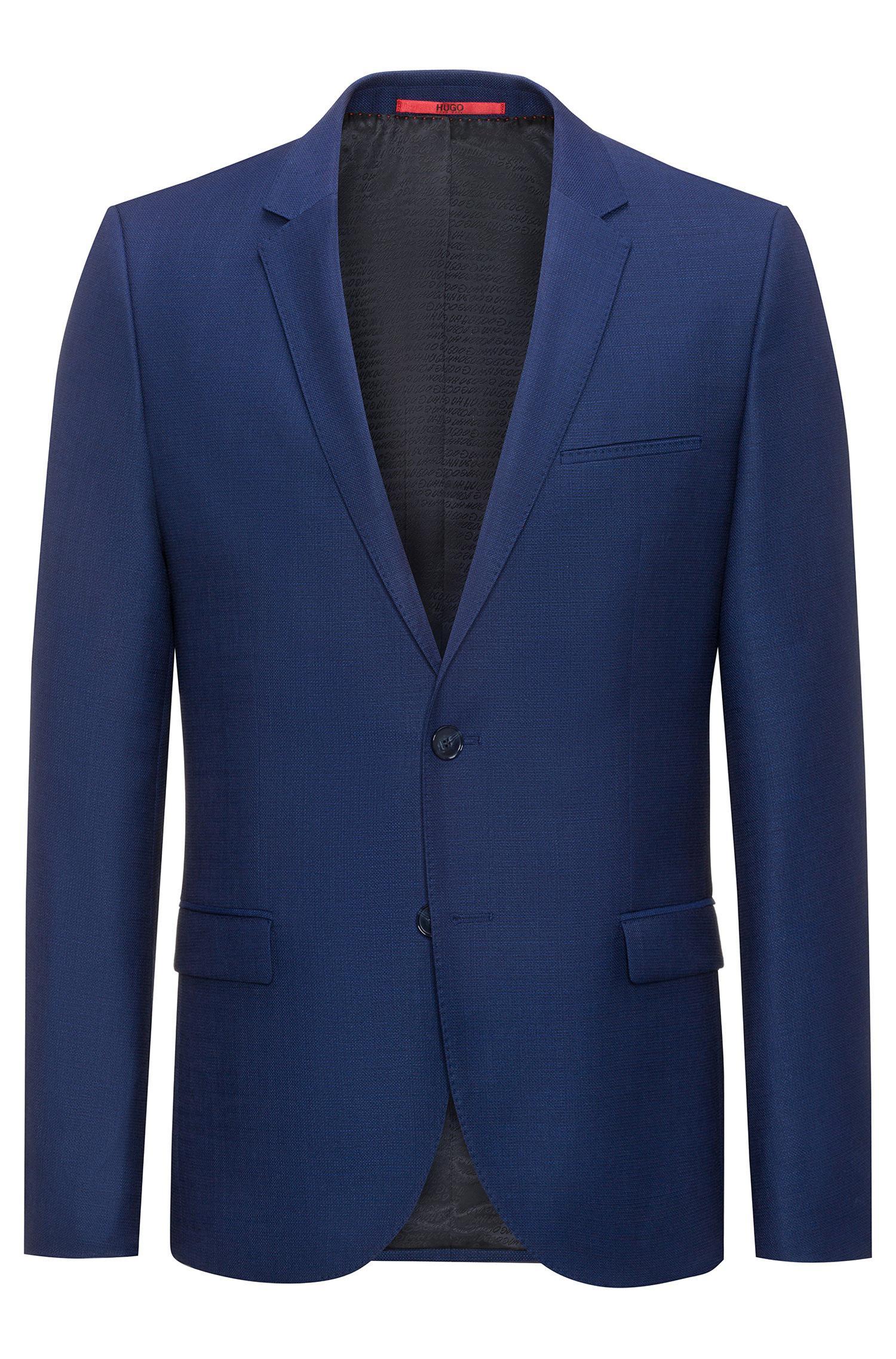 lyst hugo extra slim fit jacket in basket weave wool in blue for men. Black Bedroom Furniture Sets. Home Design Ideas
