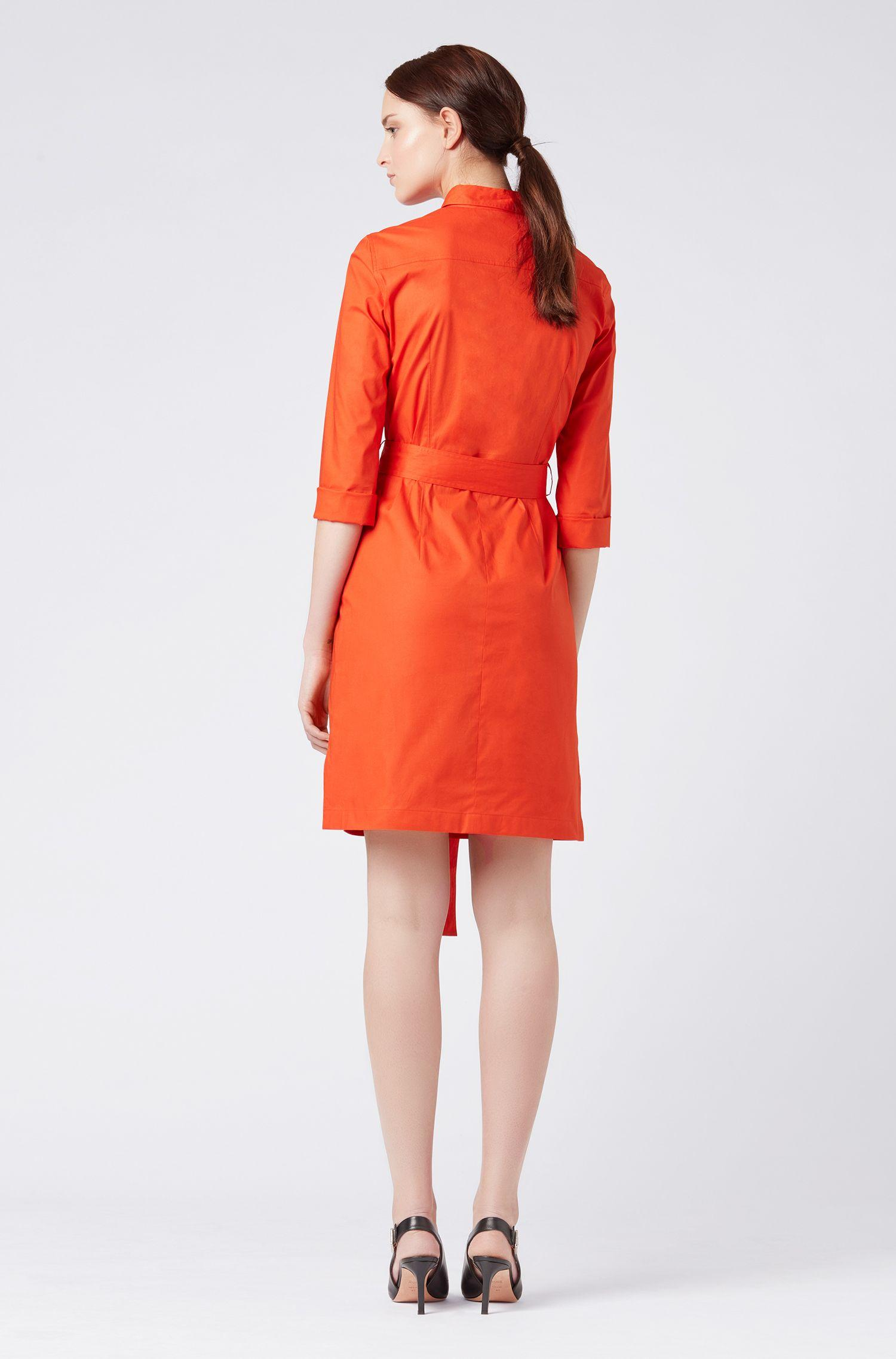 4b3db83da BOSS Belted Shirt Dress In Stretch Cotton With Point Collar in Red - Lyst