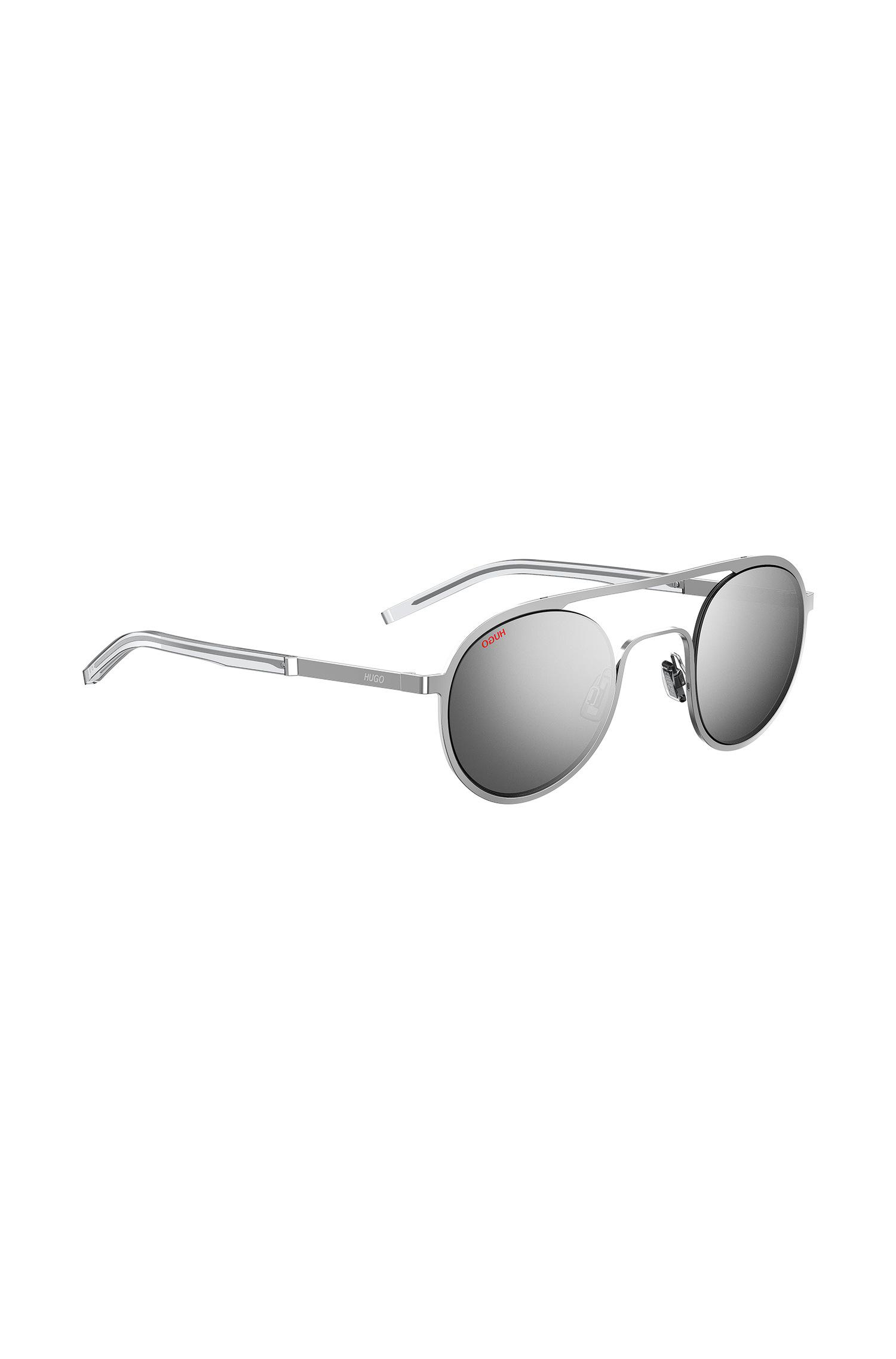 c3a5b12345 HUGO Unisex Silver-tone Sunglasses With Round Lenses in Metallic for ...