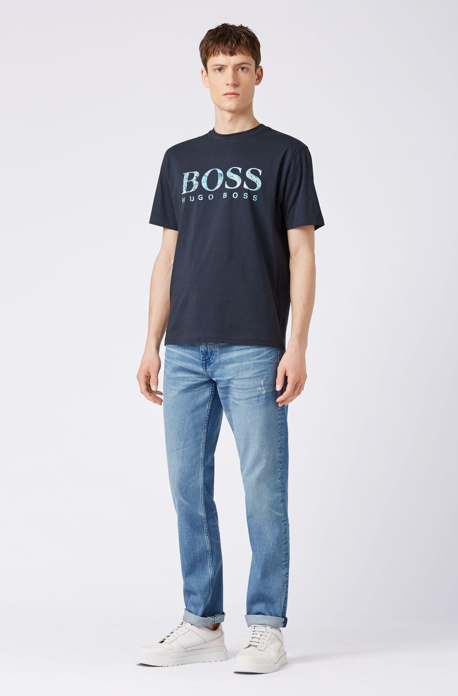 836d28e16 BOSS - Blue Relaxed-fit Jersey T-shirt With Screen-printed Logo for. View  fullscreen