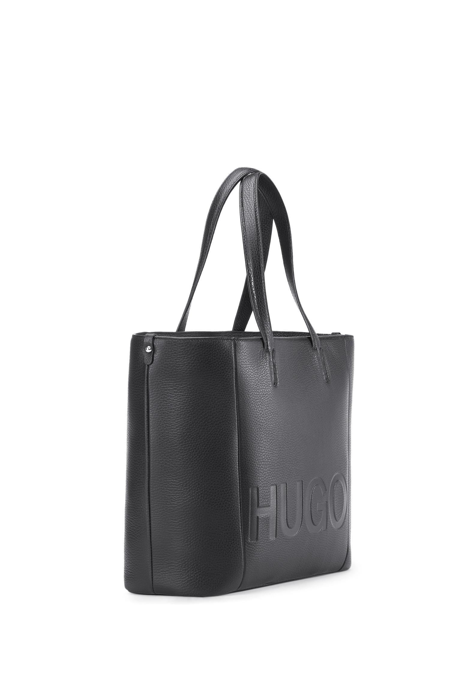 fc2cc98d6e Lyst - HUGO Tote Bag In Grained Italian Leather in Black