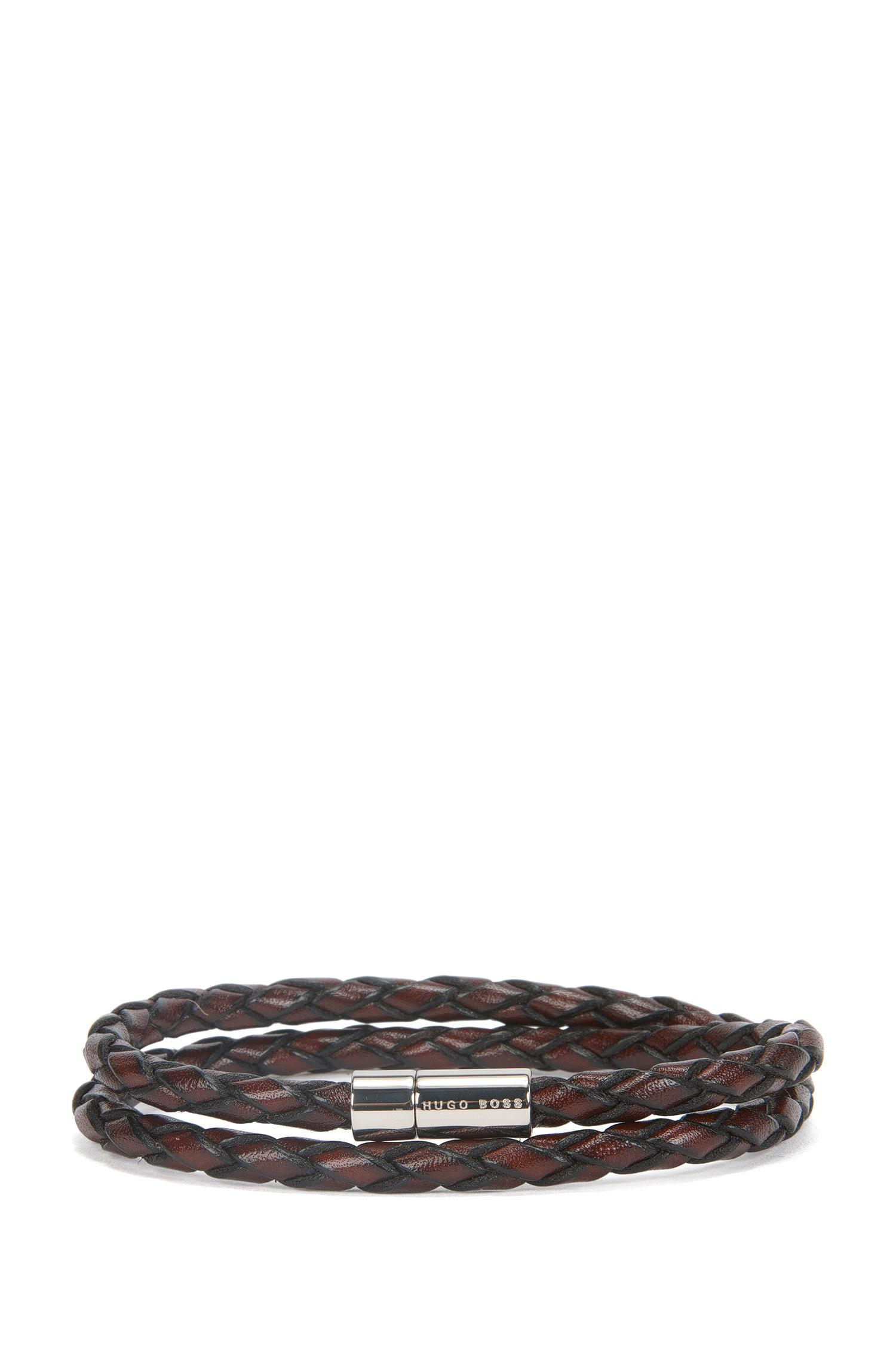 Boss  boris    Leather Double-wrap Bracelet in Brown for Men - Lyst 582e278fb4