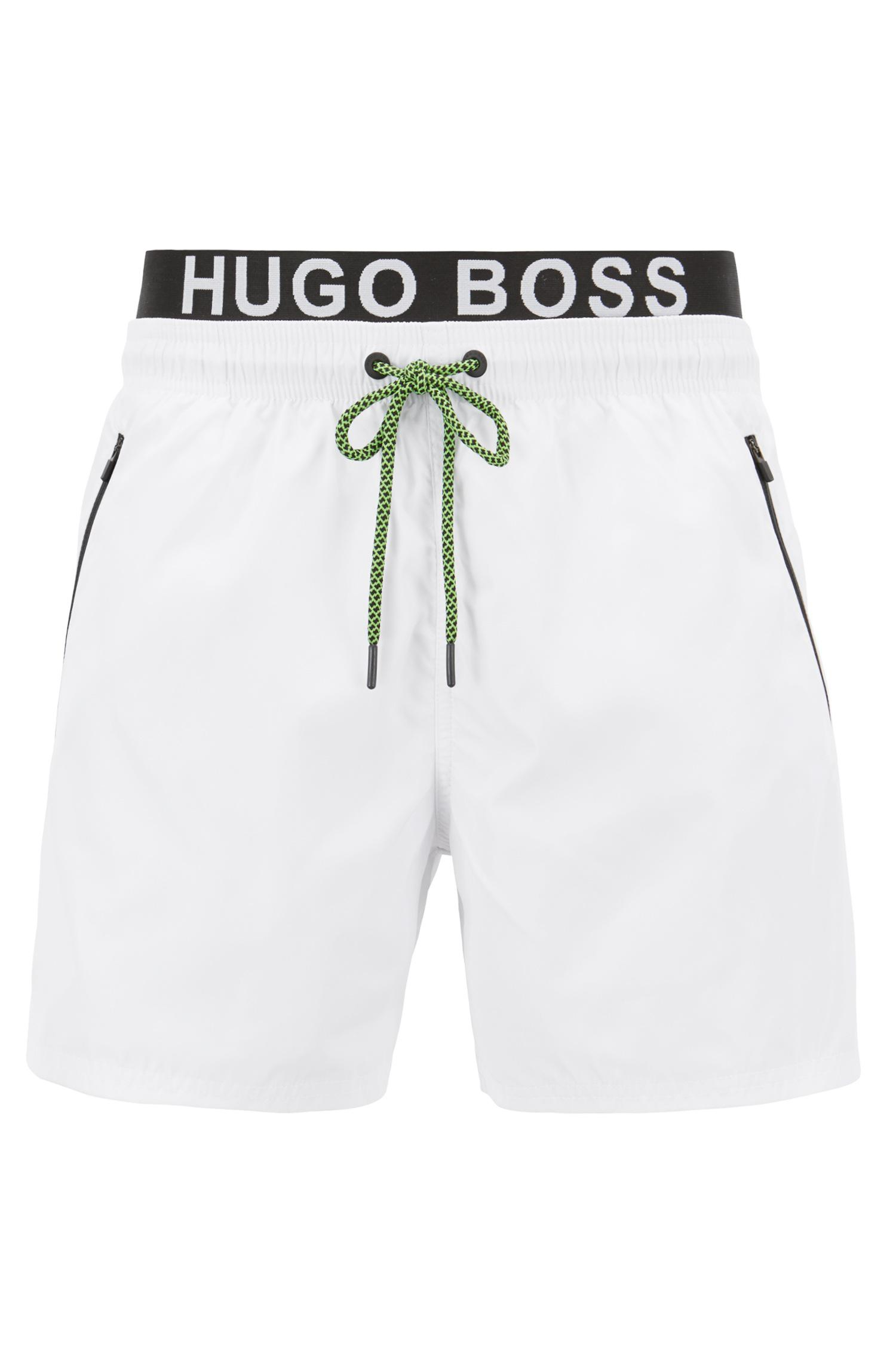 992ea0fed BOSS Lightweight Swim Shorts With Double Waistband in White for Men ...