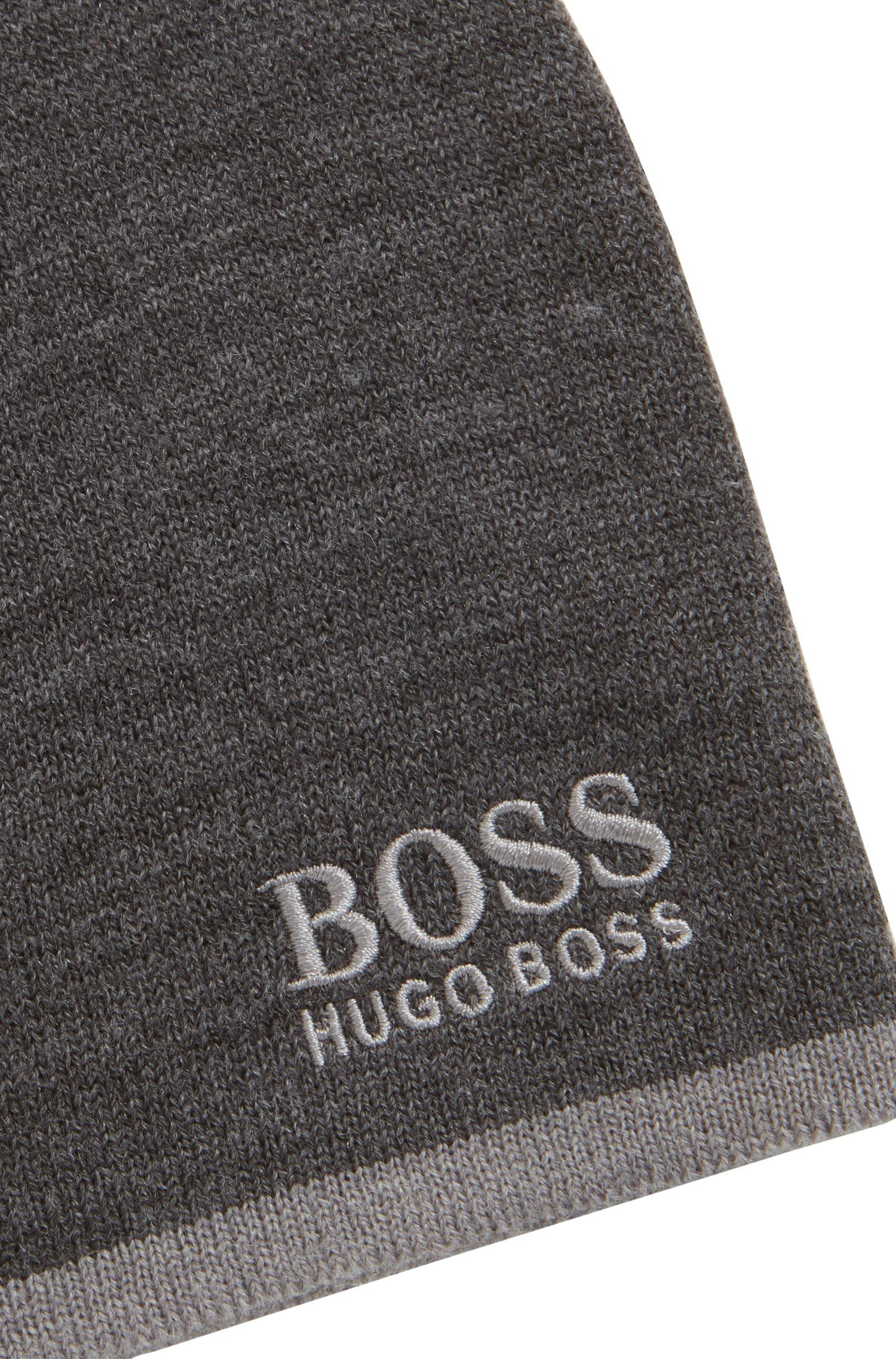 f9f2163da4976 BOSS Ribbed Beanie In A Blended Yarn With Contrast Logo in Gray for ...