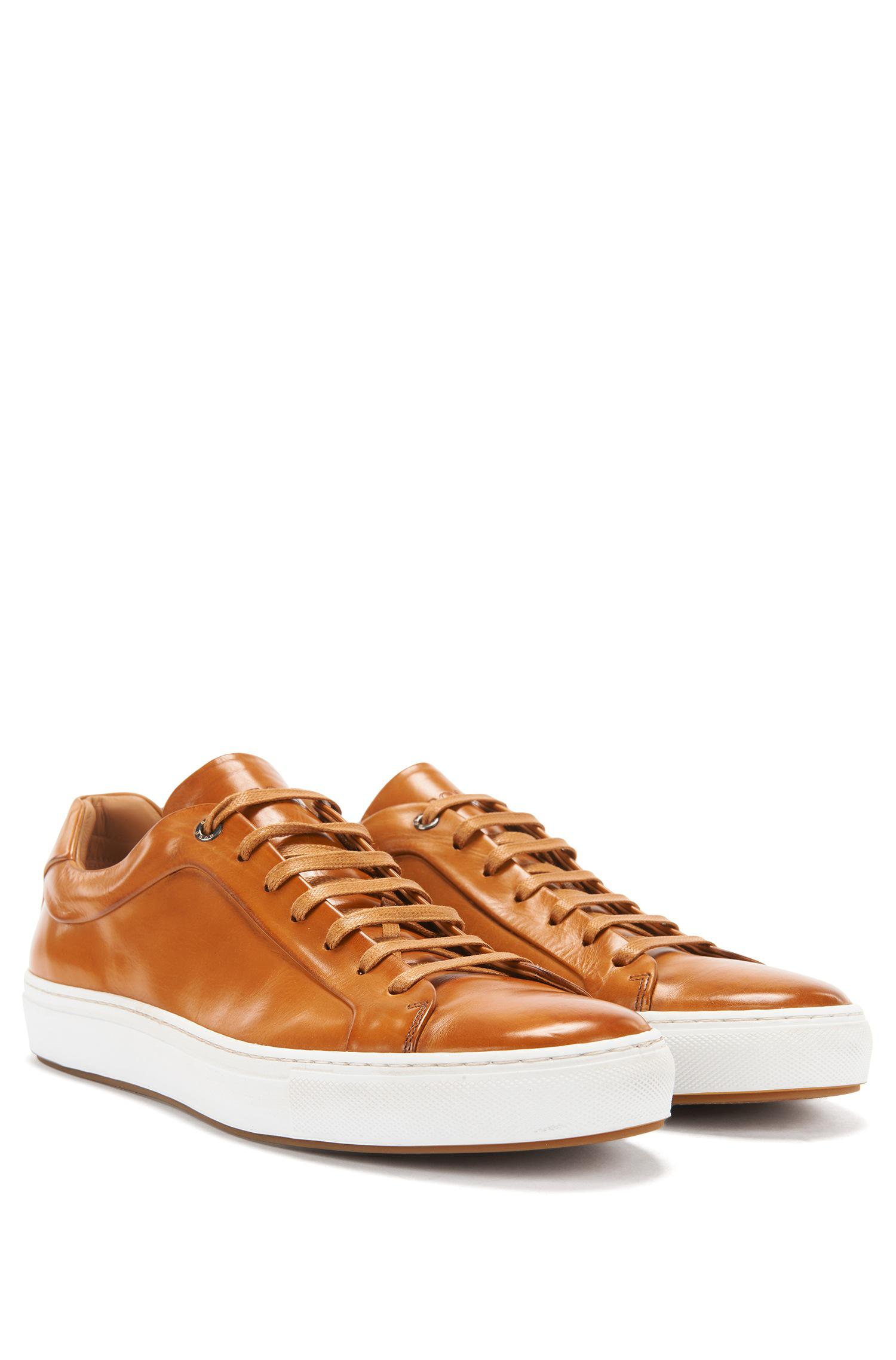 Tennis-style trainers in burnished leather BOSS SbiywqZ