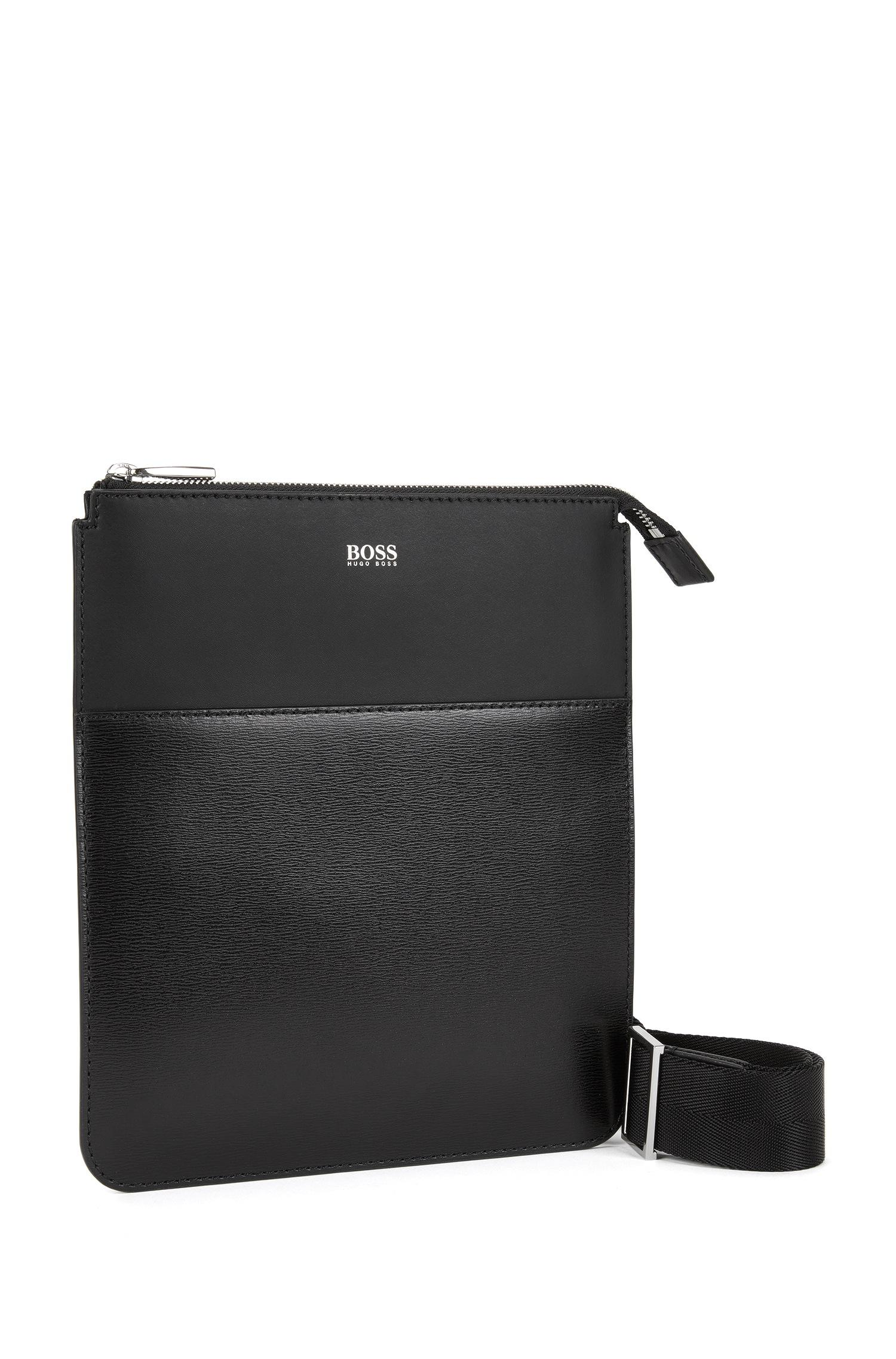 8674b91a1bf BOSS Crossbody Bag | Leather Signature Bw S Z Eng in Black for Men ...