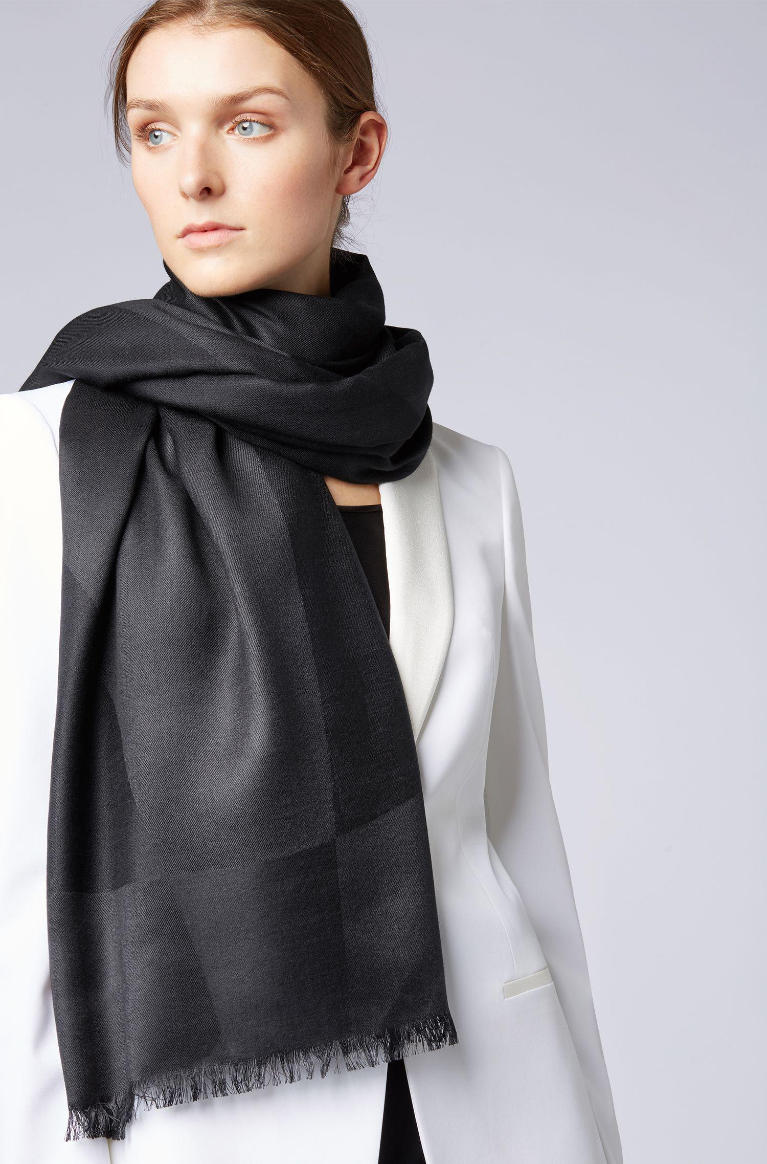 Lyst - BOSS Graphic-jacquard Scarf In Silk With Wool in Black 52cf8298578