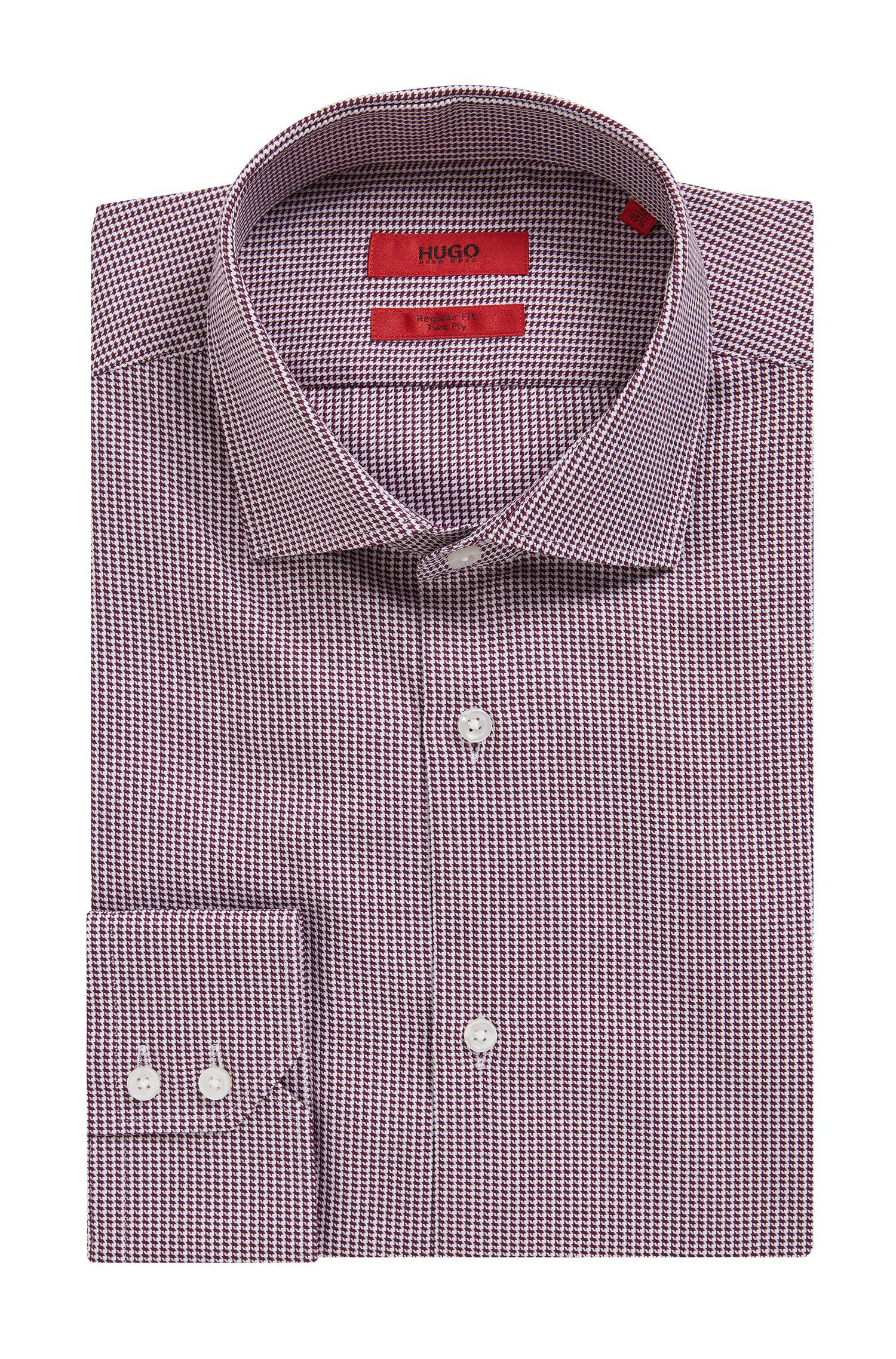 11b6318cf HUGO Regular-fit Houndstooth Check Shirt In Two-ply Cotton in Red ...