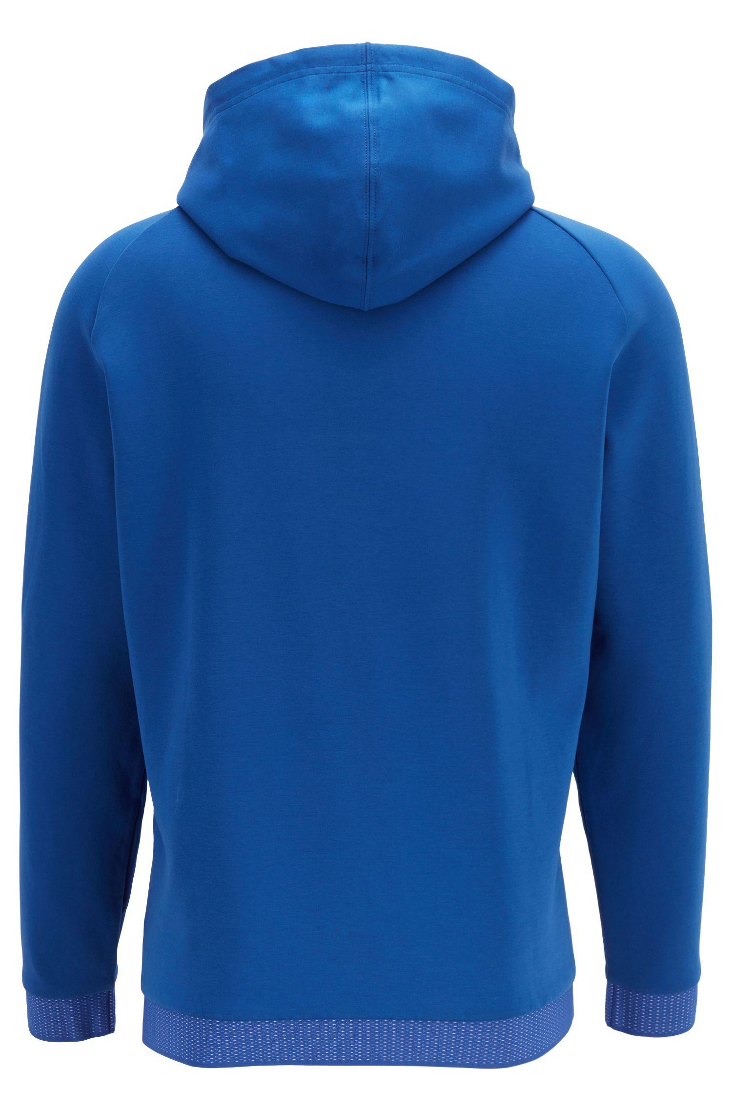 f45824f1 BOSS - Blue Relaxed-fit Hooded Sweatshirt With Zipper Detail for Men -  Lyst. View fullscreen