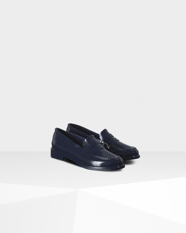 f96f8374c0e Lyst - HUNTER Original Gloss Penny Loafers in Blue