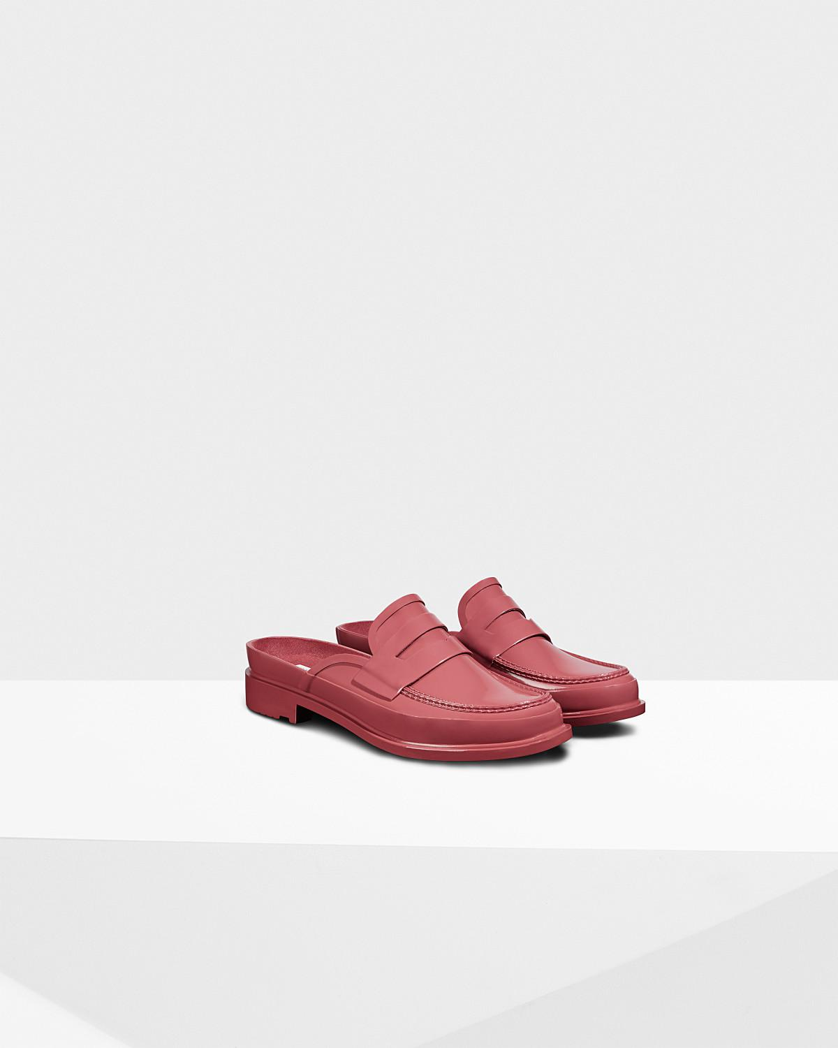 0eb3ef98ffc Hunter Original Backless Gloss Penny Loafer in Red - Lyst