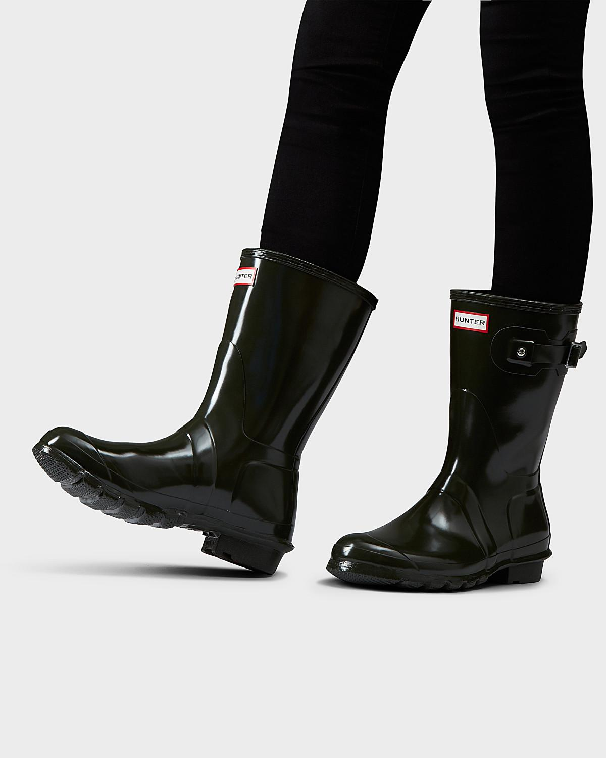 a3c97a3c12f518 Hunter - Green Women s Original Short Gloss Wellington Boots - Lyst. View  fullscreen