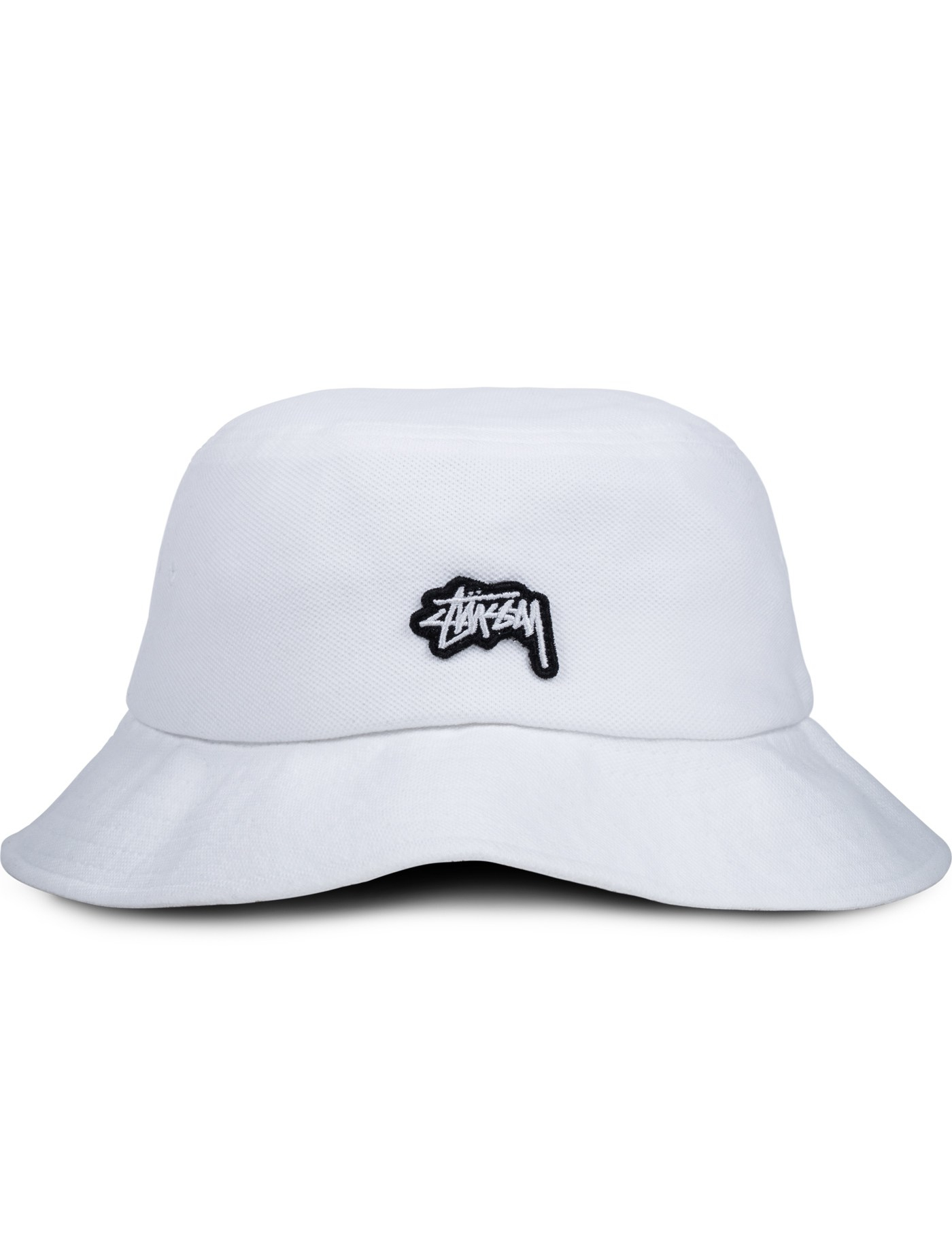 Stussy Stock Logo Pique Bucket Hat in White | Lyst