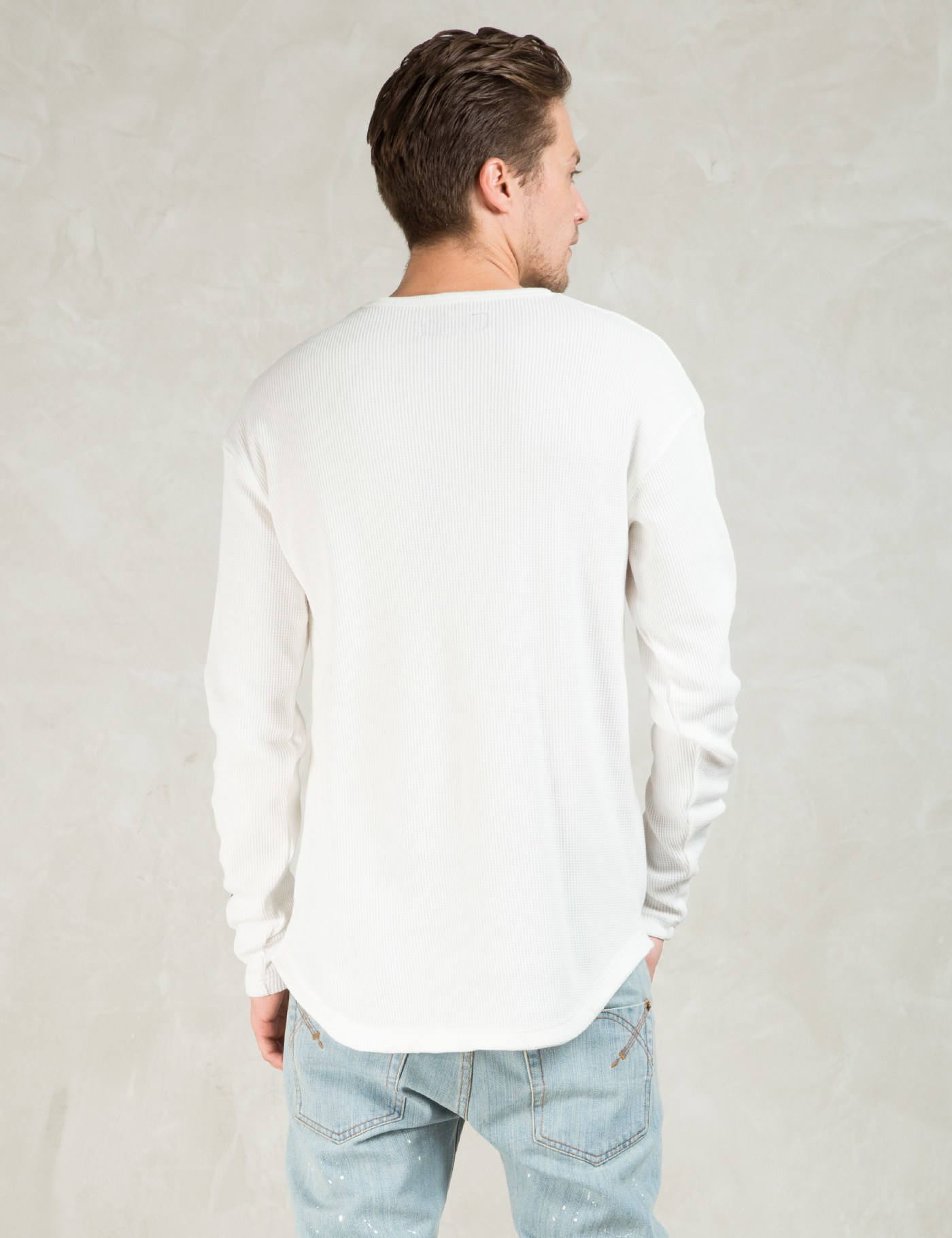 White l s dvsn thermal t shirt in white for men lyst for White thermal t shirt