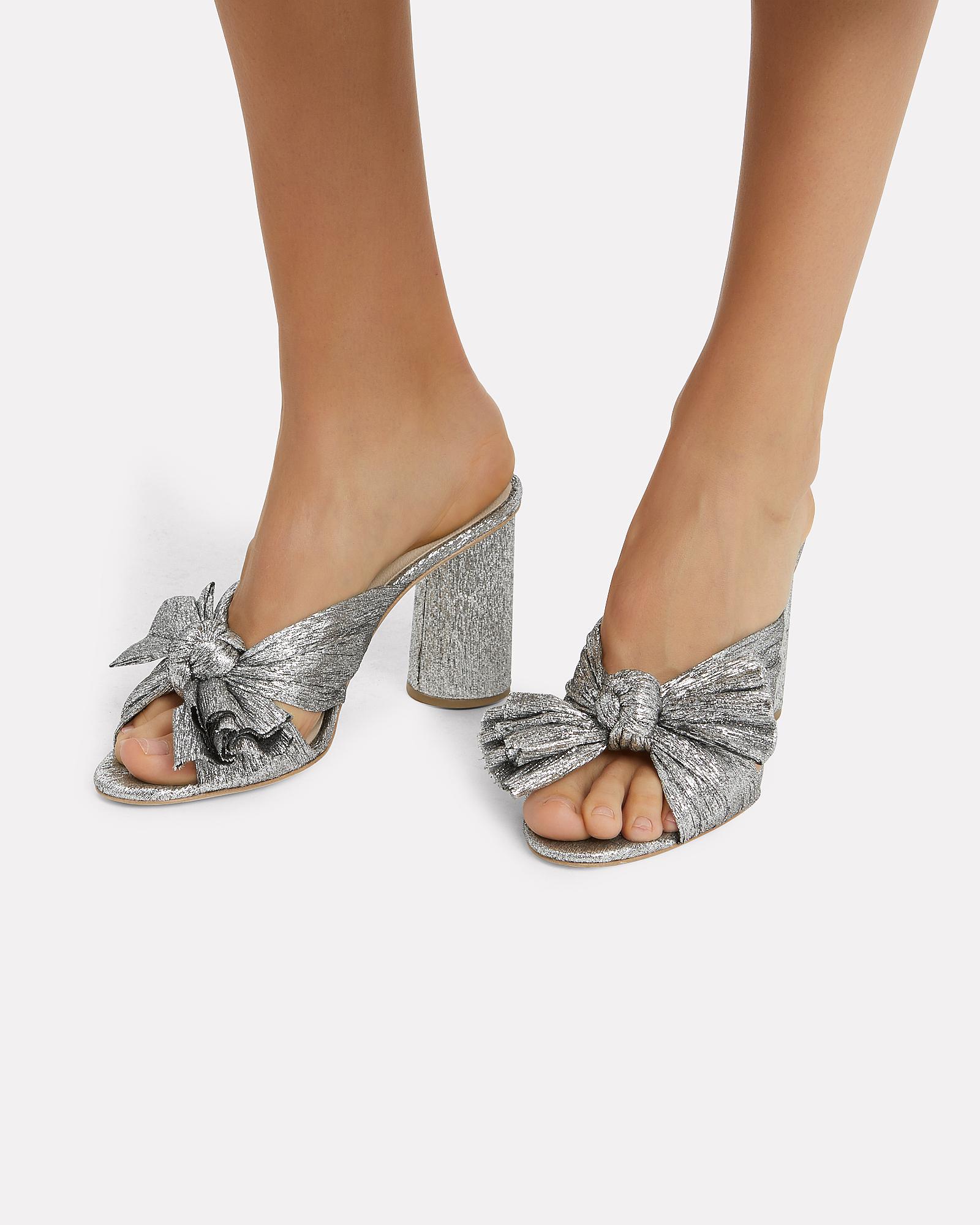 d9eee740889 Lyst - Loeffler Randall Penny Knot Strap Slide Sandals in Metallic