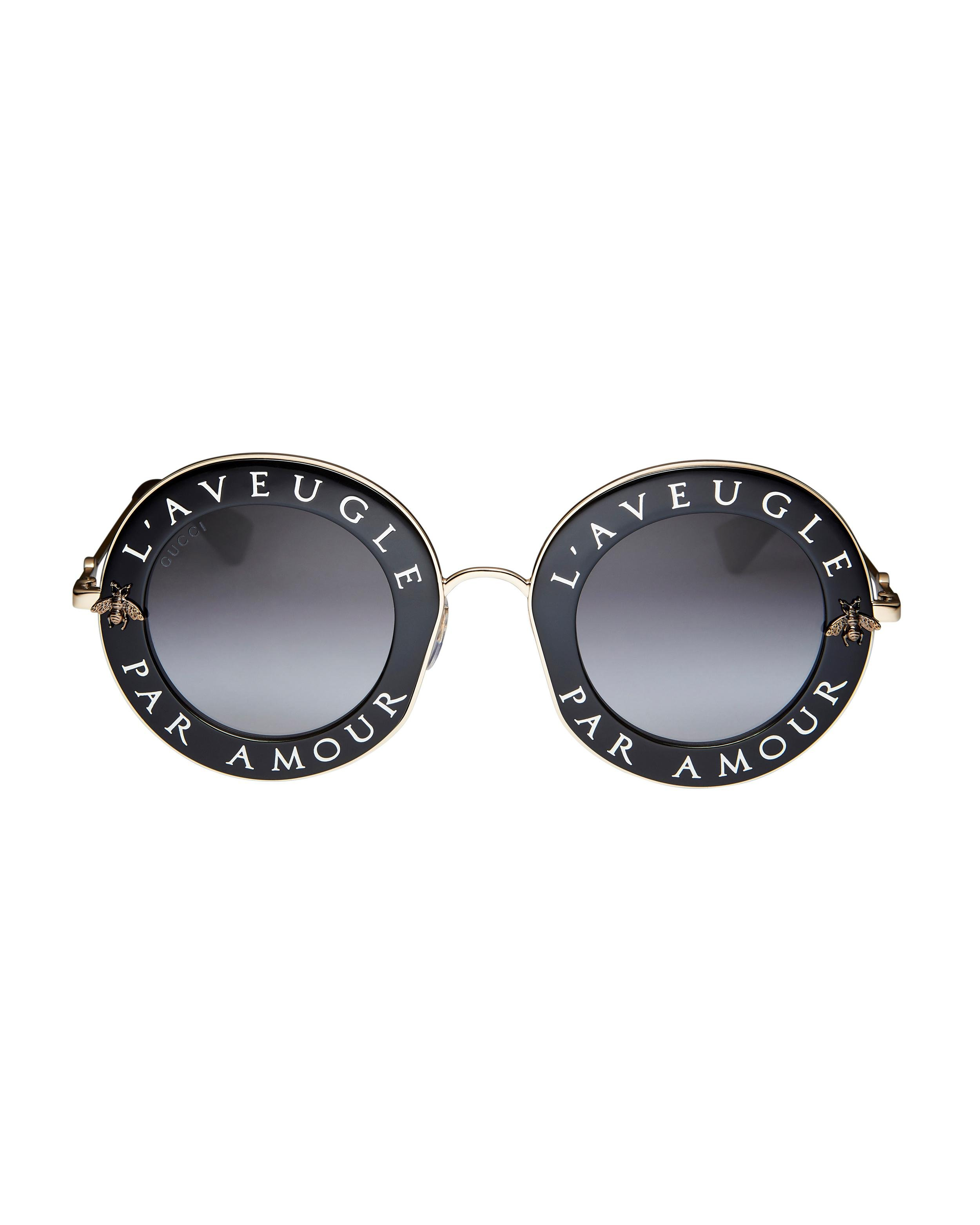656077ff6 Gucci Blind For Love Round Sunglasses in Black - Lyst