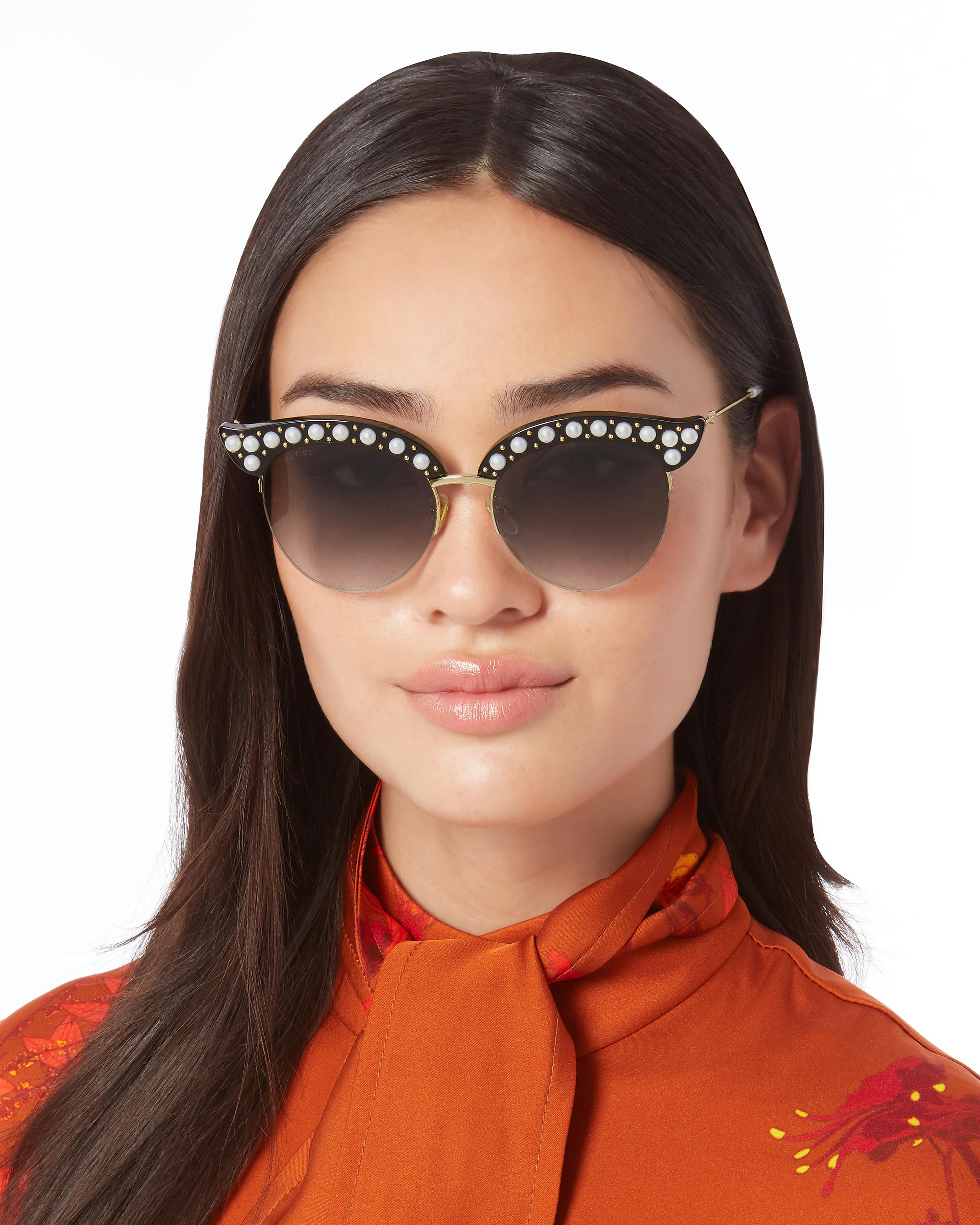 b6a040097d1 Lyst - Gucci Faux Pearl-embellished Cat Eye Sunglasses in Metallic
