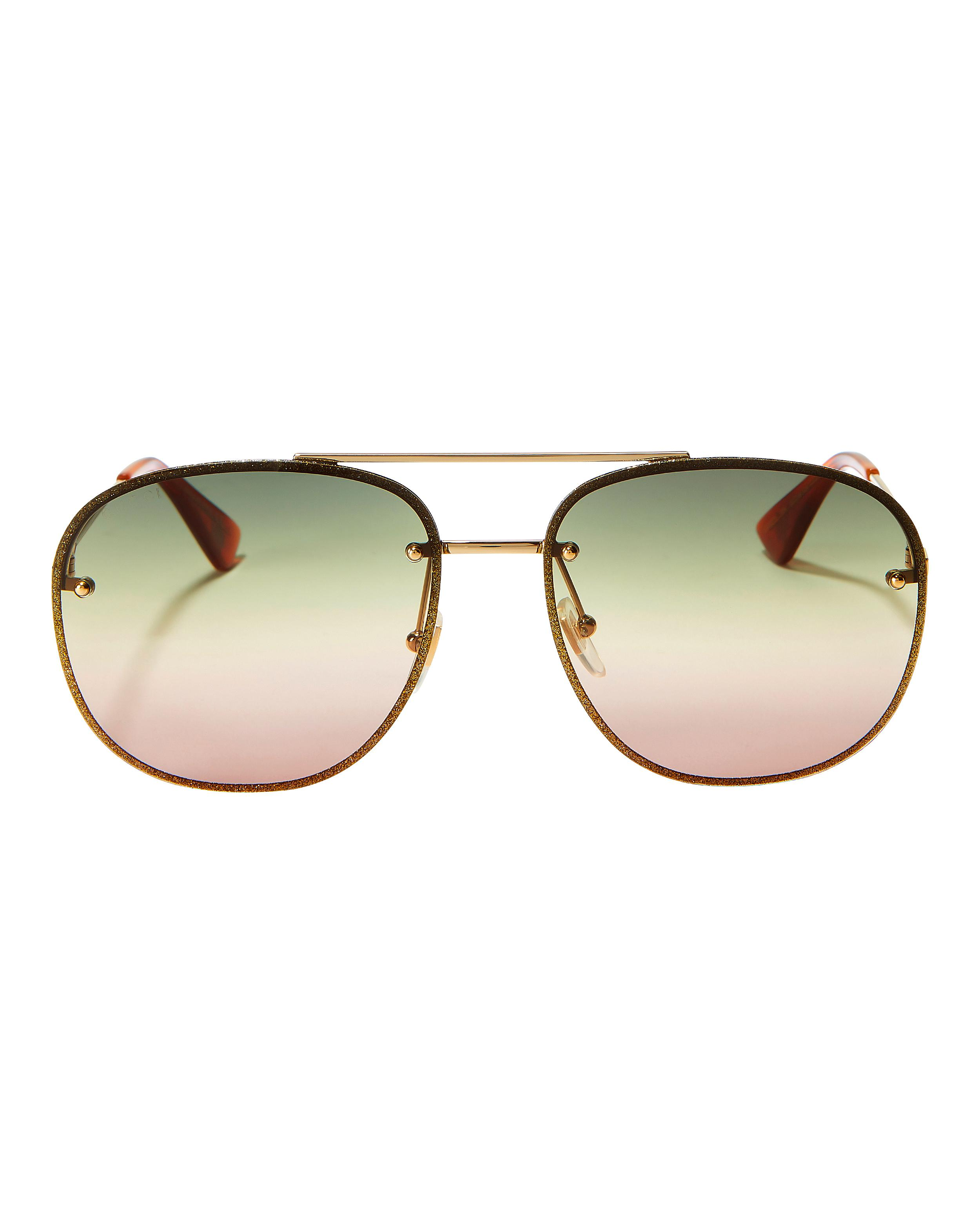 45d61e1bc70d Lyst - Gucci Glitter Aviator Sunglasses in Metallic