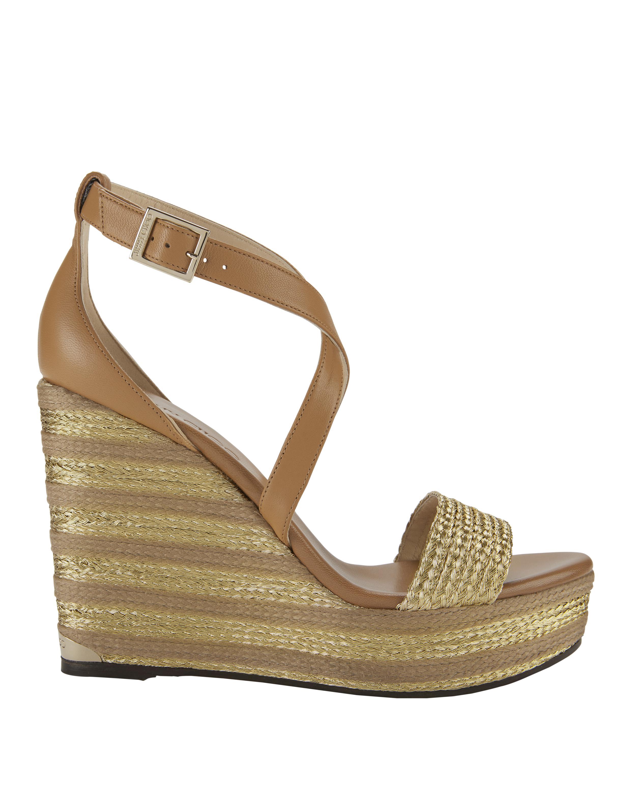 c5a0b42da246 Lyst - Jimmy Choo Portia Metallic Stripe Wedge Sandals in Brown