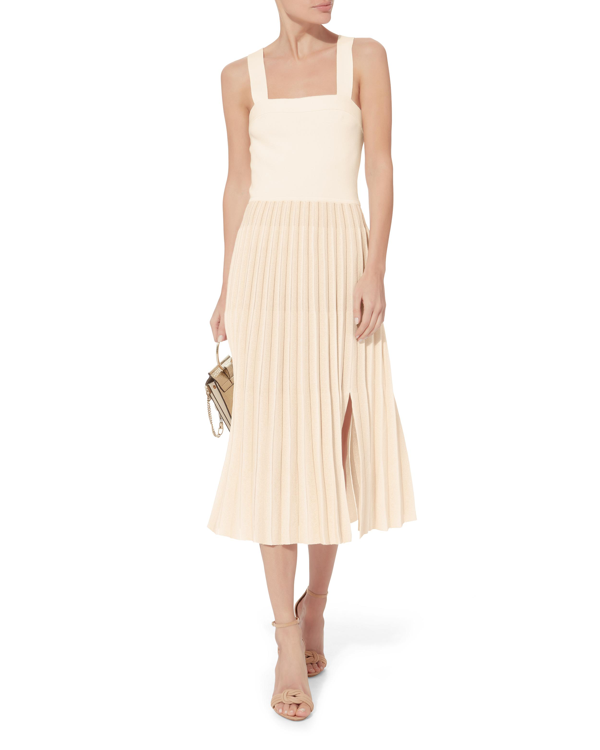 2a1a2b7556 10 Crosby Derek Lam Pleated Skirt Midi Dress in Natural - Lyst