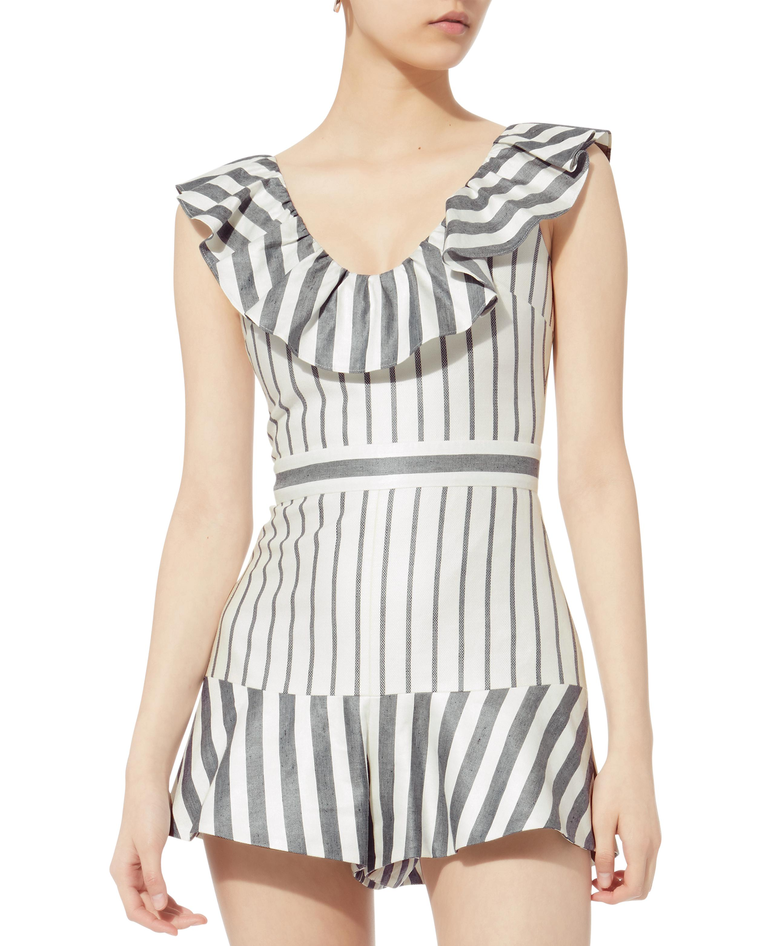 1300e7233f0 Lyst - Alexis Tamiko Striped Romper in Blue