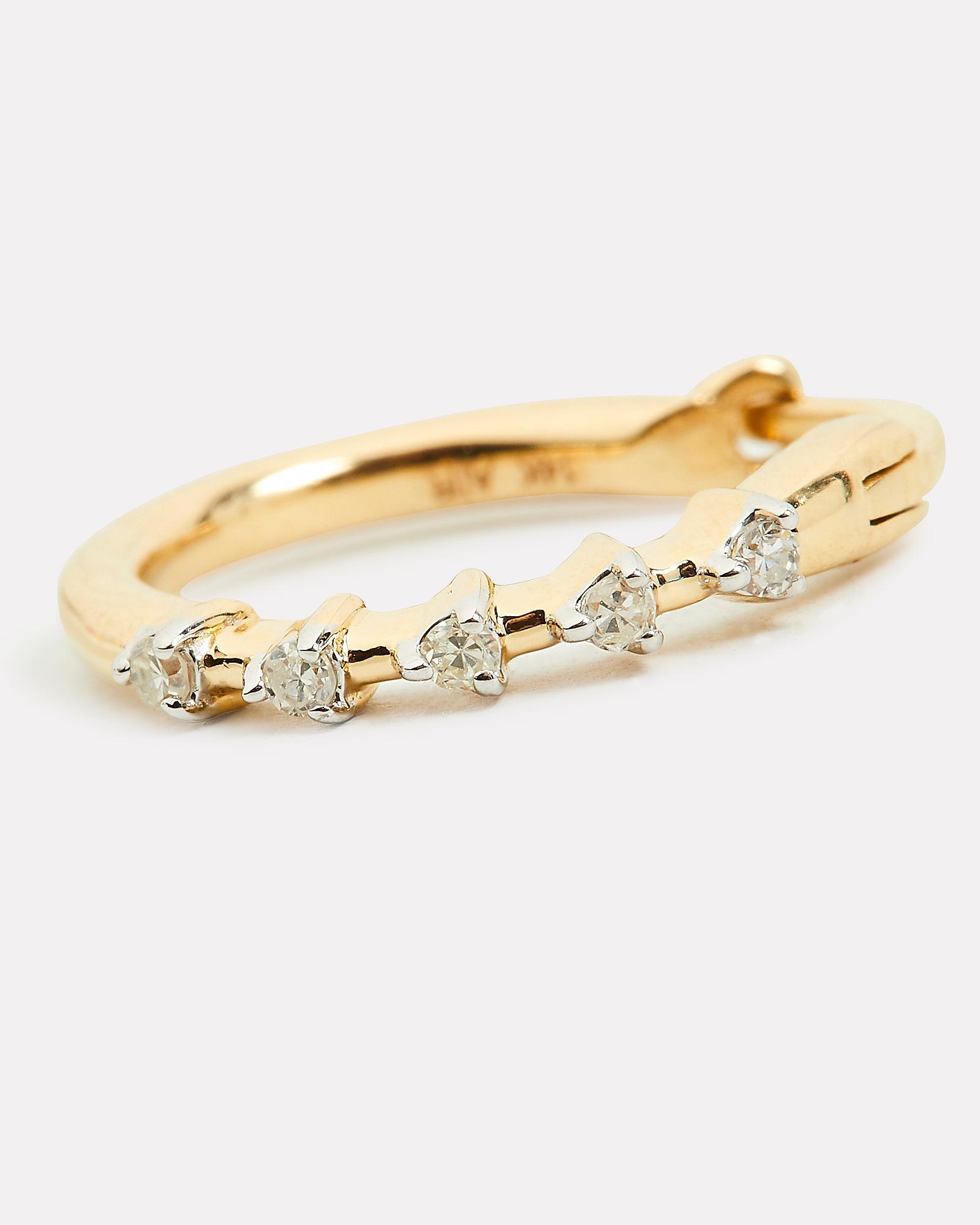 db9f6b9ff Adina Reyter - Metallic Five Diamond Huggie Hoops - Lyst. View fullscreen