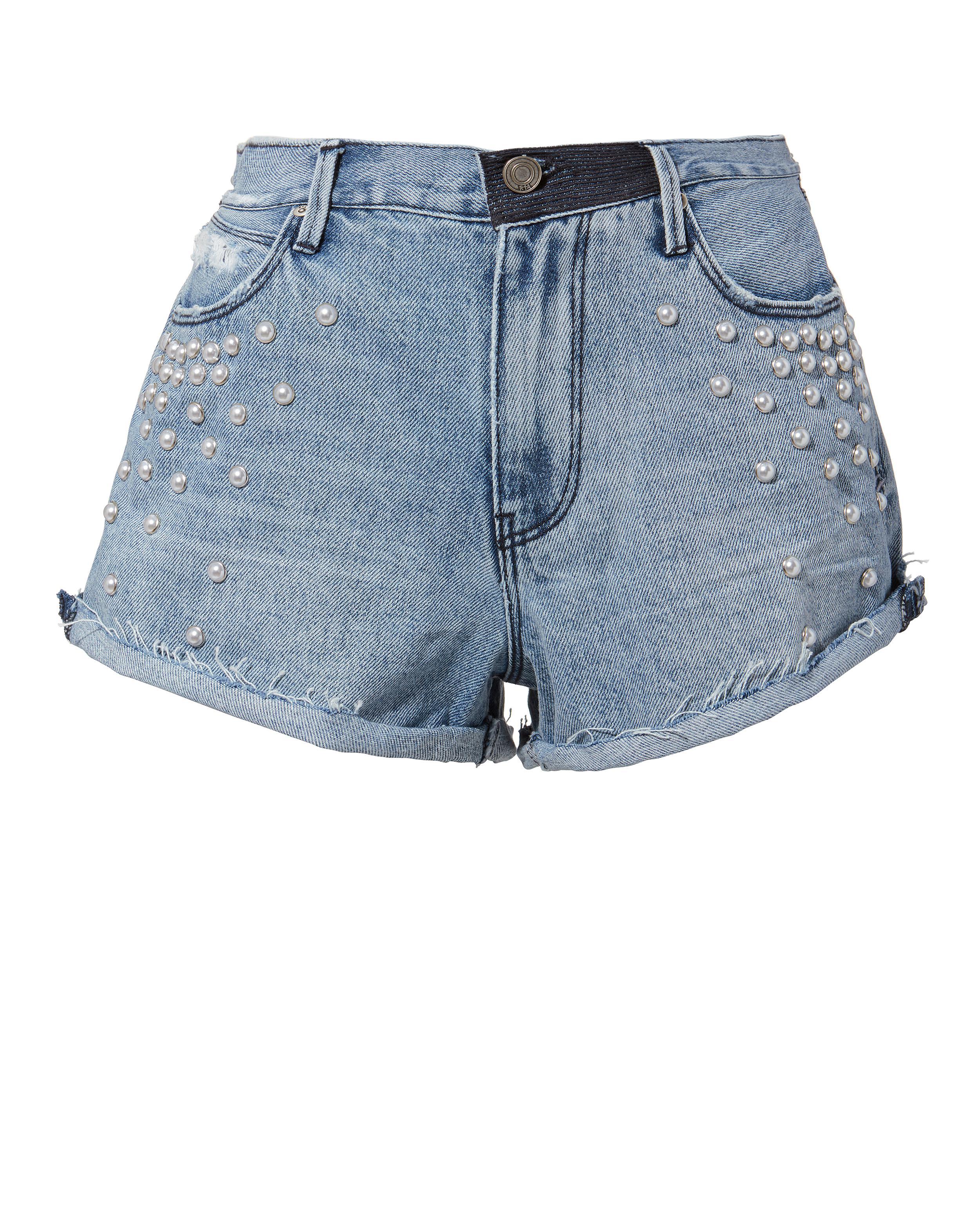RTA. Women's Blue Pearl Denim Shorts