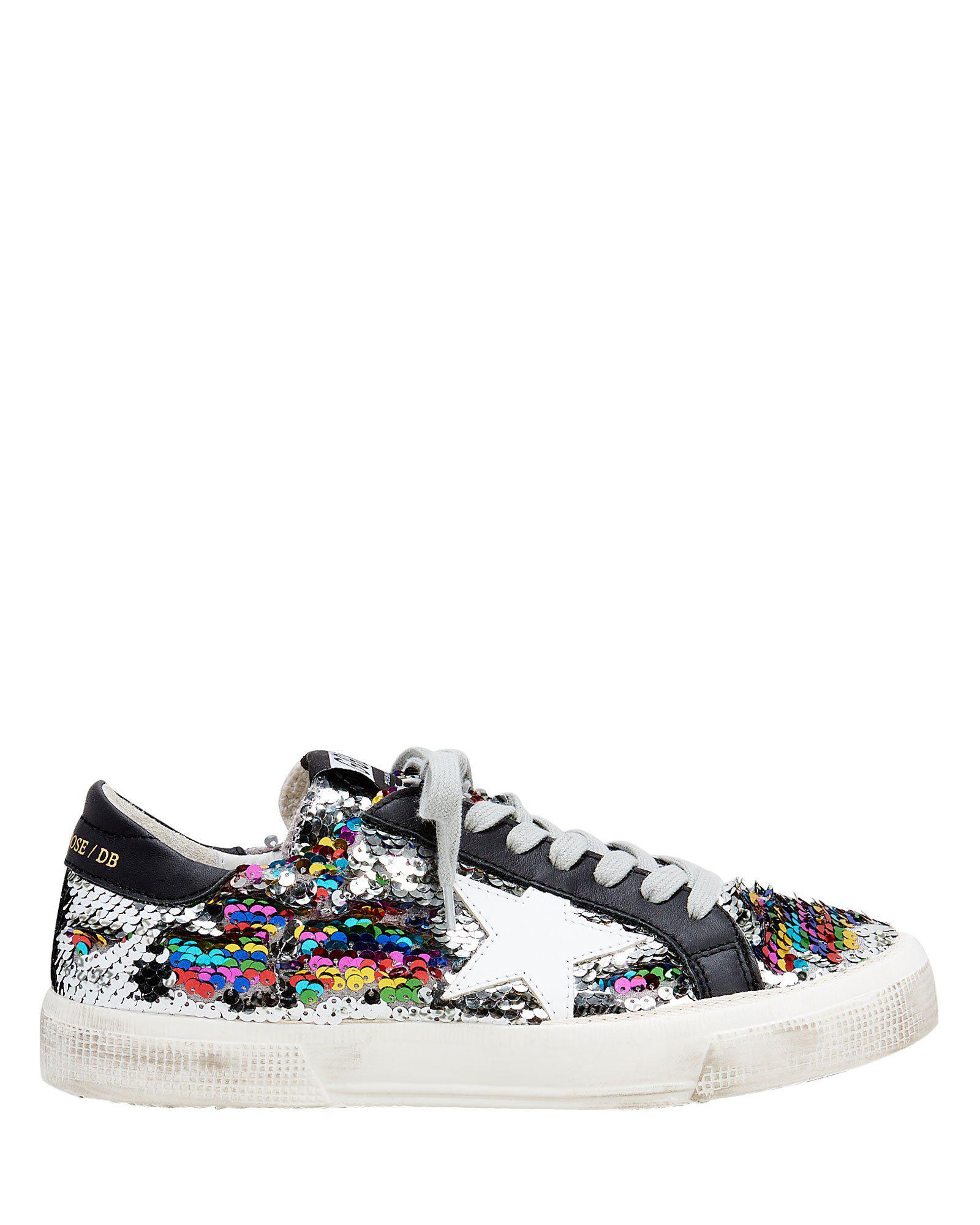 1df23adf3f65 Golden Goose Deluxe Brand. Women s Metallic May Rainbow Sequin Low-top  Sneakers