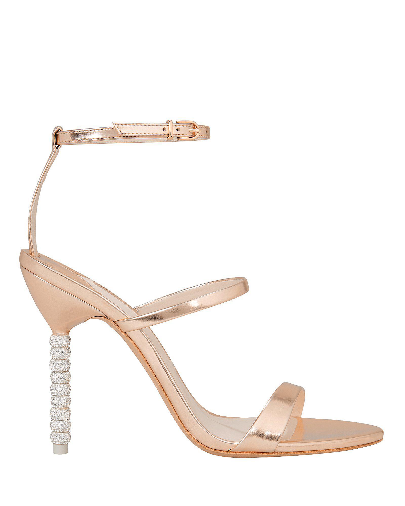 91c4aef8b Lyst - Sophia Webster Rosalind Rose Gold Crystal Heel Sandals in ...
