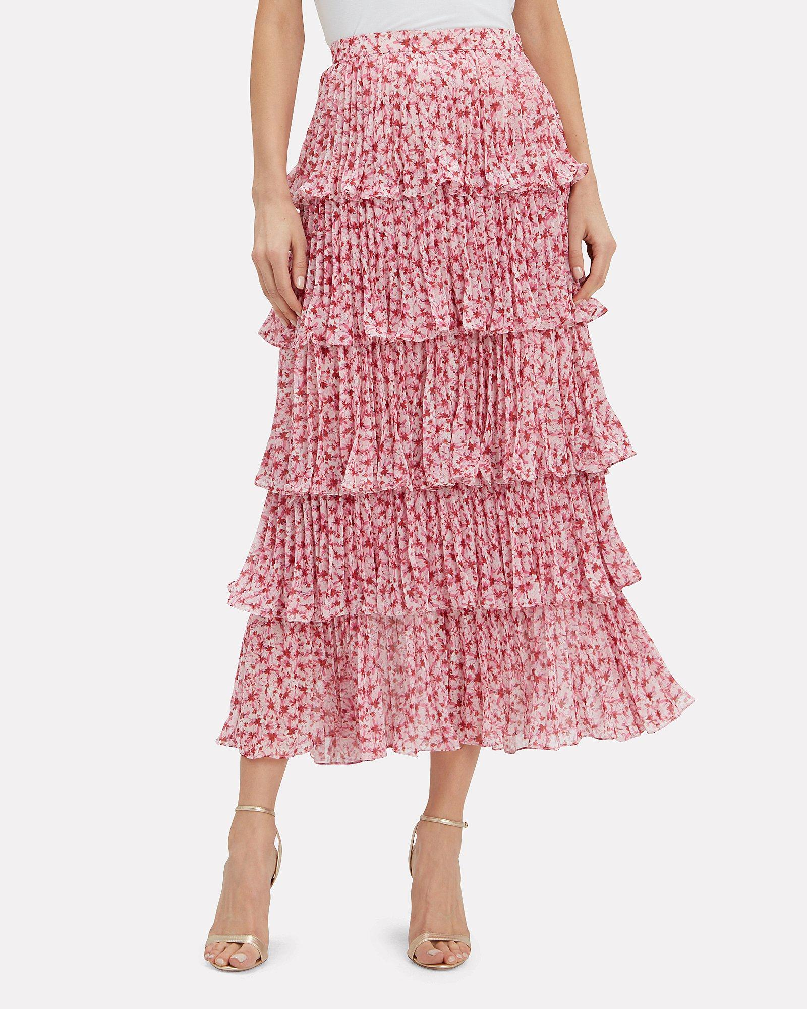 50% off fashion styles great varieties AMUR Synthetic Paisley Tiered Maxi Skirt in Pink - Lyst