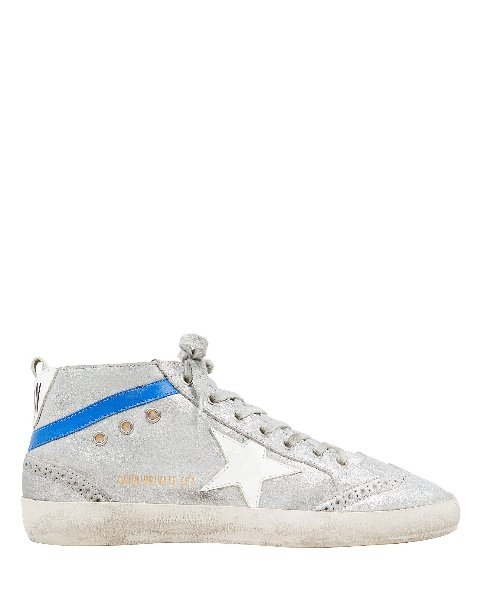 bb01628799c5 Golden Goose Deluxe Brand. Women s Blue Mid Star Shearling Suede Silver  Sneakers