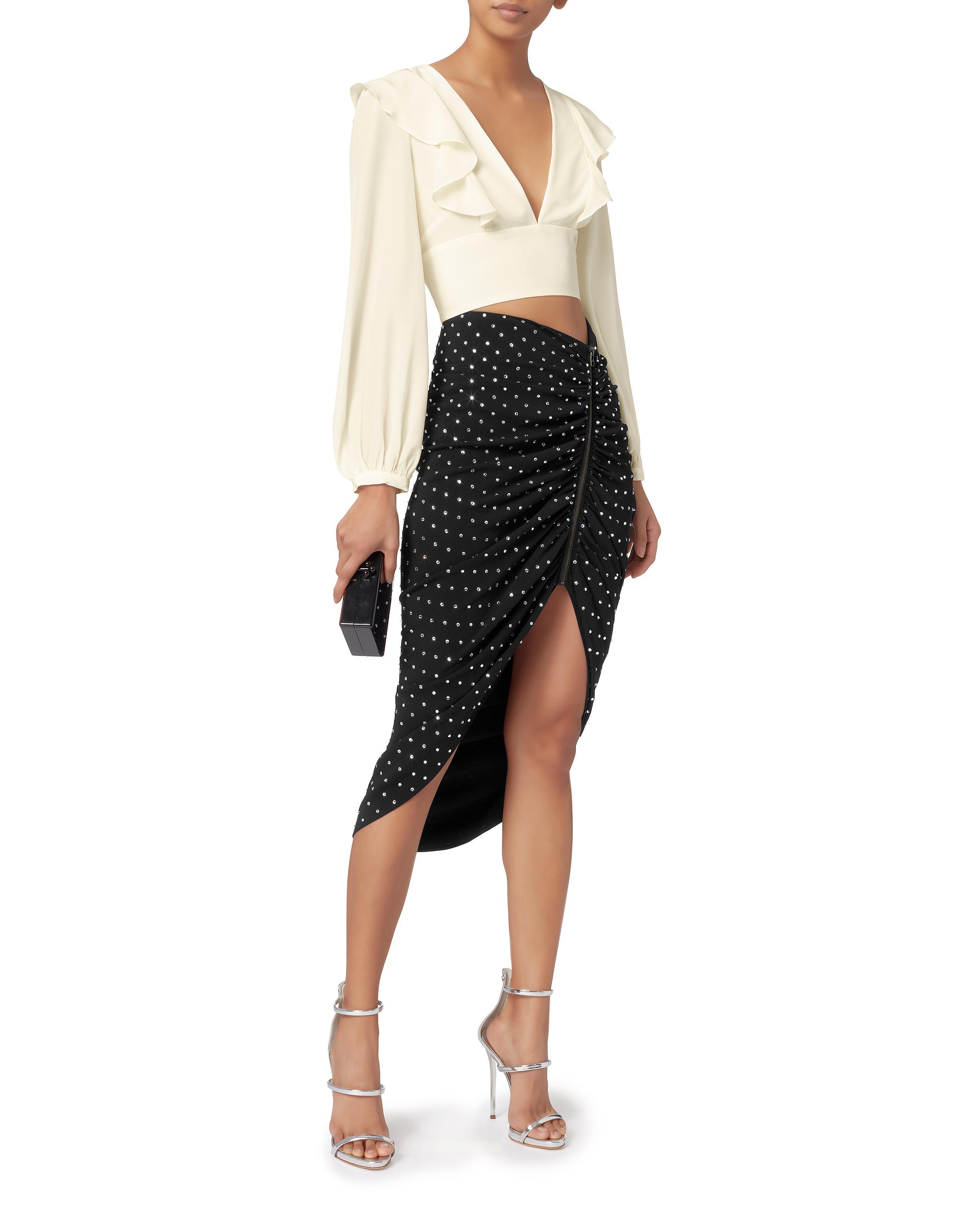 0e06966683d2 Veronica Beard Ari Rhinestone-ruched Skirt in Black - Lyst