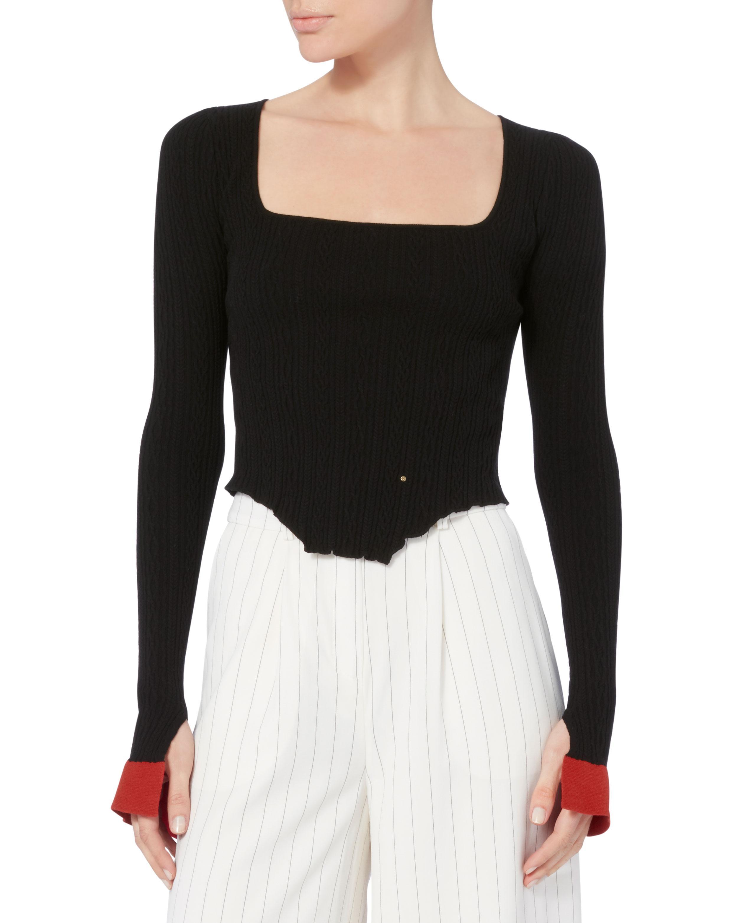 38073e8746 Lyst - Esteban Cortazar Kira Corset Hem Knit Top in Black